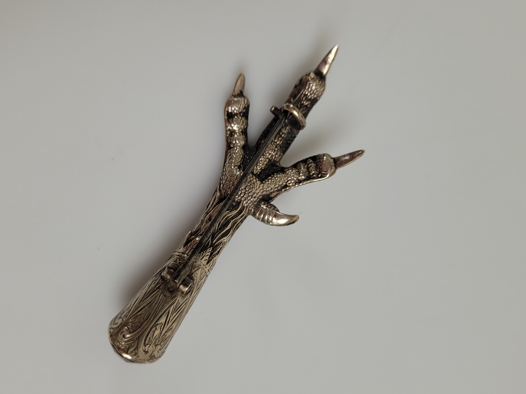 An early 20th Century silver plated and simulated citrine claw brooch, with engraved design and - Image 2 of 2