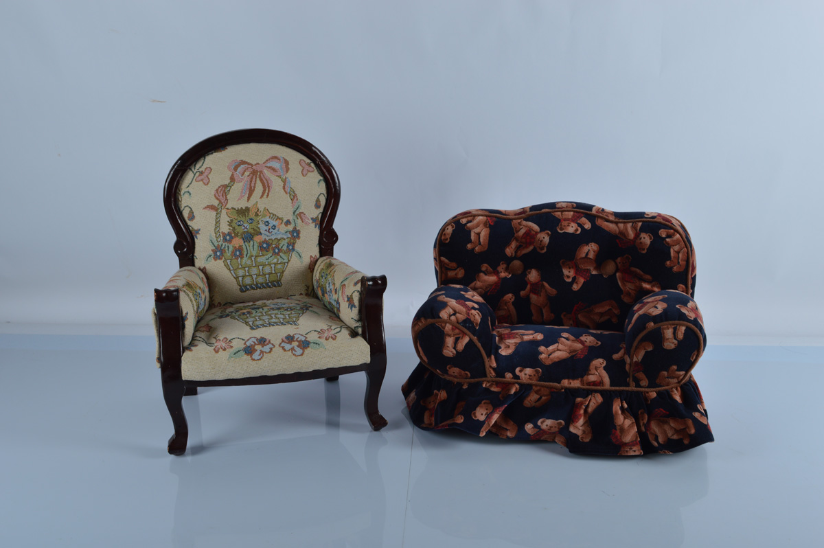 An upholstered Victorian style armchair, with embroidered pussy cat scene, 42cm high together with a