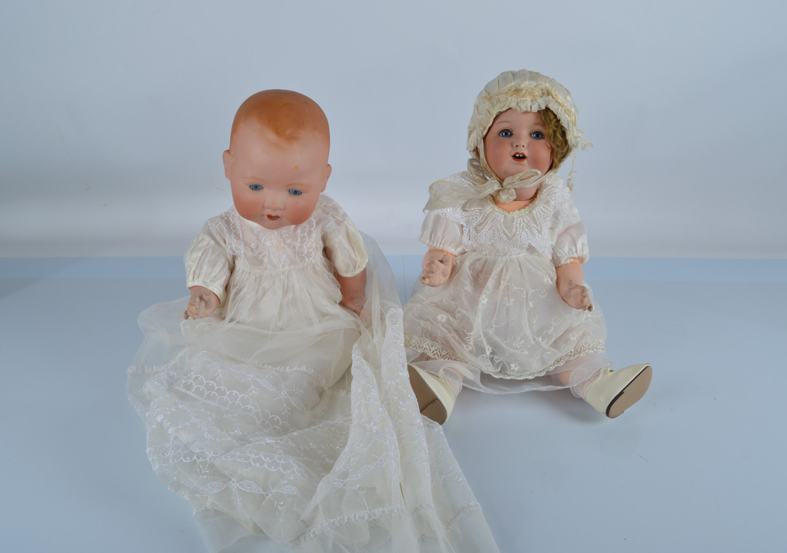 Two Armand Marseille babies, a 996 with blonde mohair wig and straight legged toddler body, 20 1/2