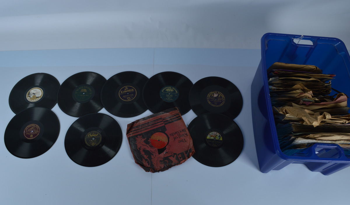 Two boxes of vinyl records, mostly 1940s and 1950s 78s