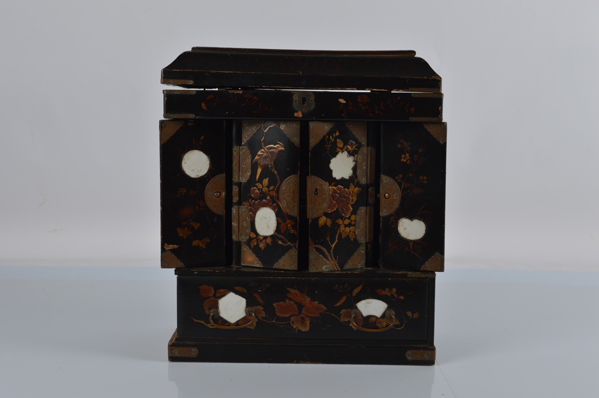 A Japanese shibayama inlaid table cabinet or desk tidy, AF. 35cm tall.