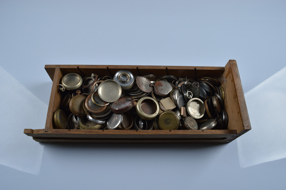 A large quantity of miscellaneous pocket and fob watch cases, mix of materials including nickel,