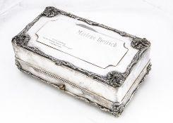 A Marlene Dietrich Silver-Plated Presentation Casket, An important silver-plated presentation casket
