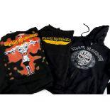 Iron Maiden Hoodies, three black Iron Maiden hoodies, two pullover style, one Iron Maiden front