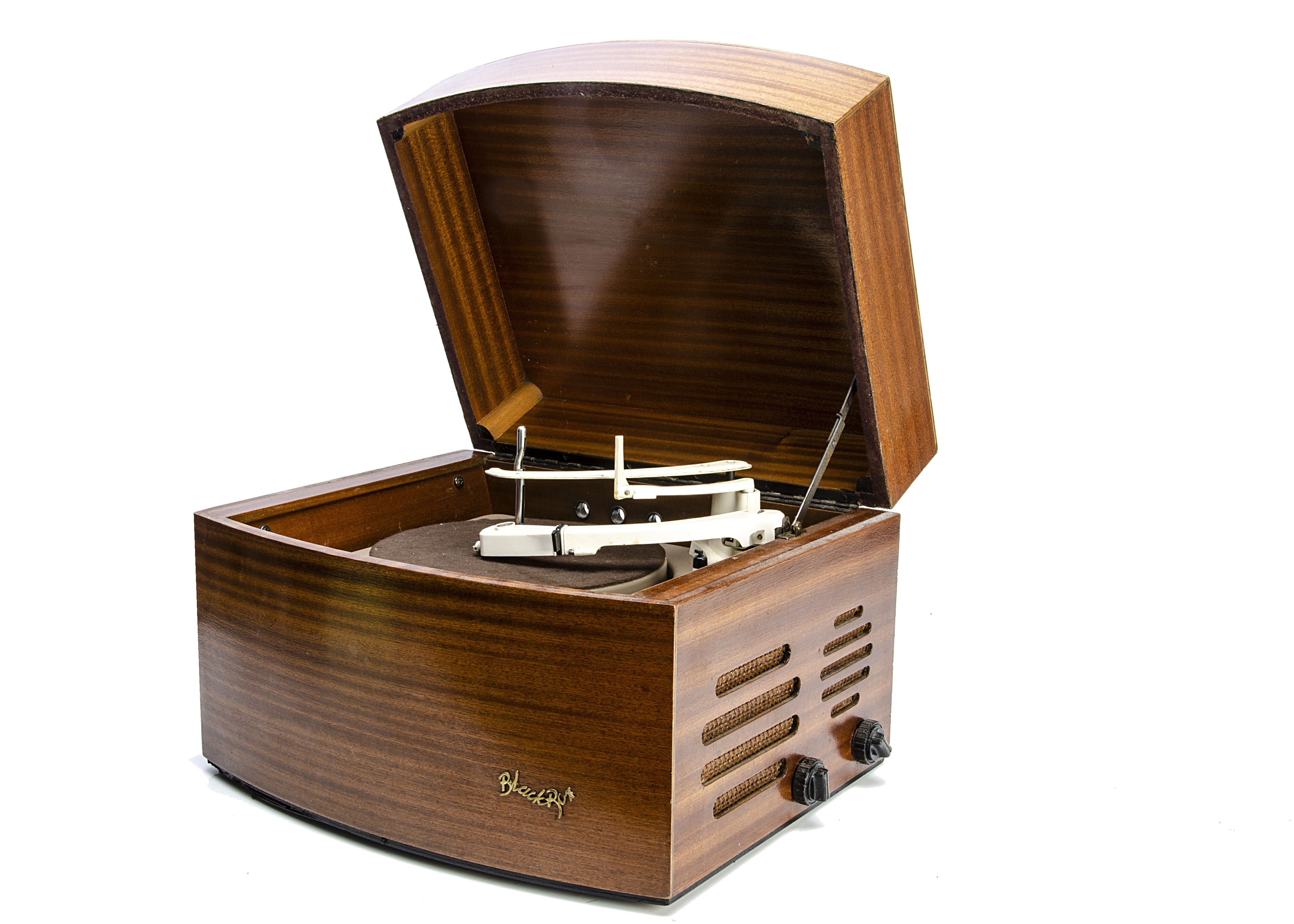 Pye Record Player, a Pye 'Black Box' record player, top wooden case in good order, with a glue