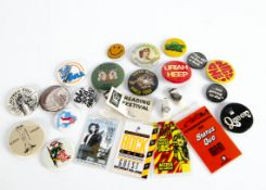 Rock / Prog Badges and Passes, seventeen vintage Pin Badges and Five Passes of mainly Rock and