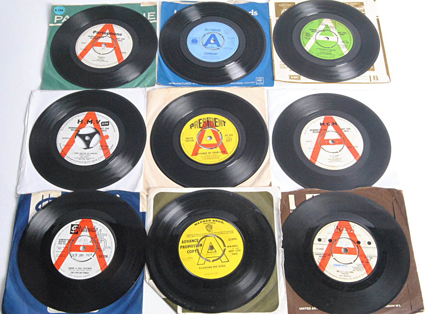 """Demo 7"""" Singles, nine demos, mainly from the Sixties with artists comprising Stevie Wonder,"""