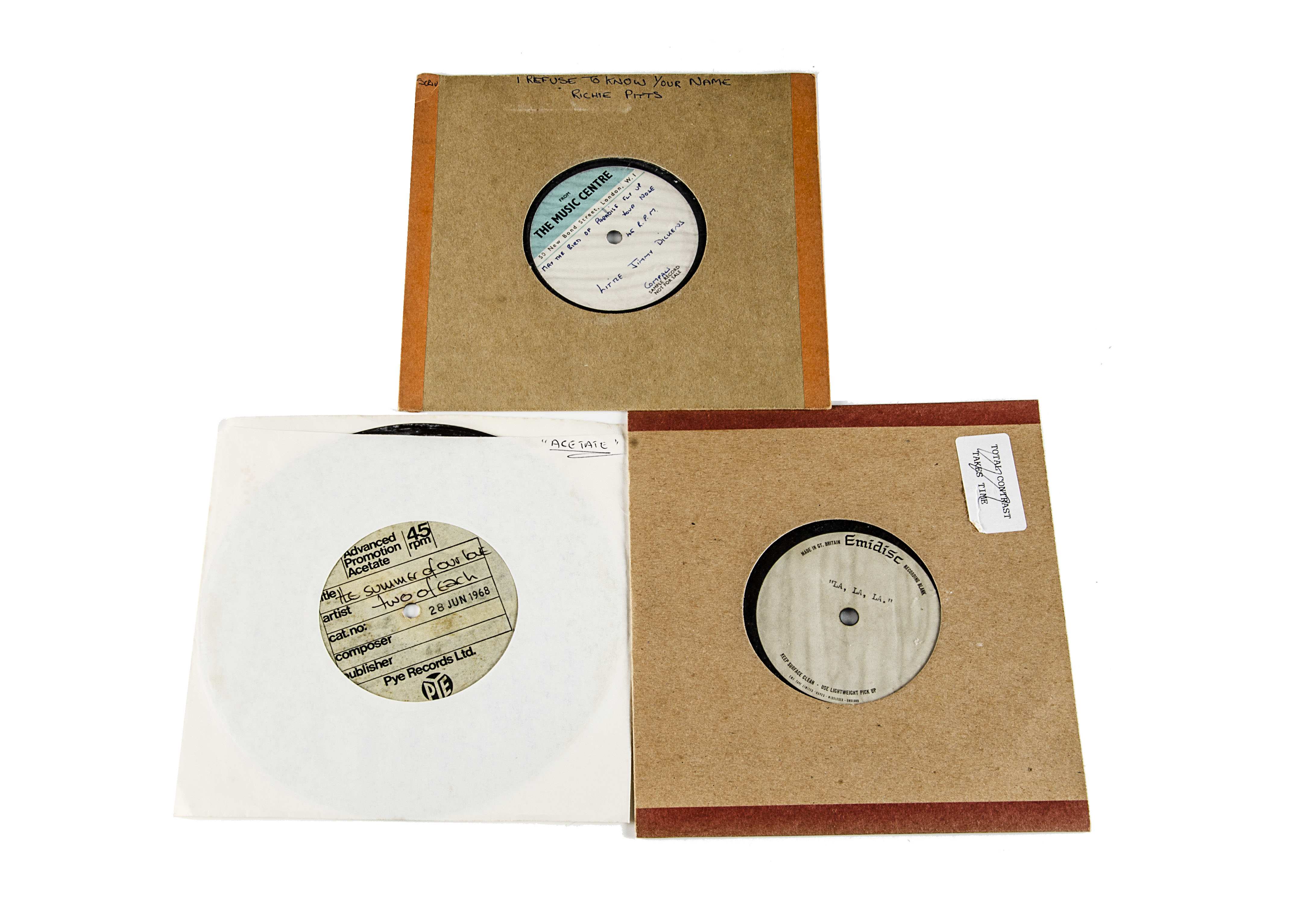 """Acetates, three 7"""" acetates of mainly Sixties artists comprising Two of Each - The Summer of Our"""