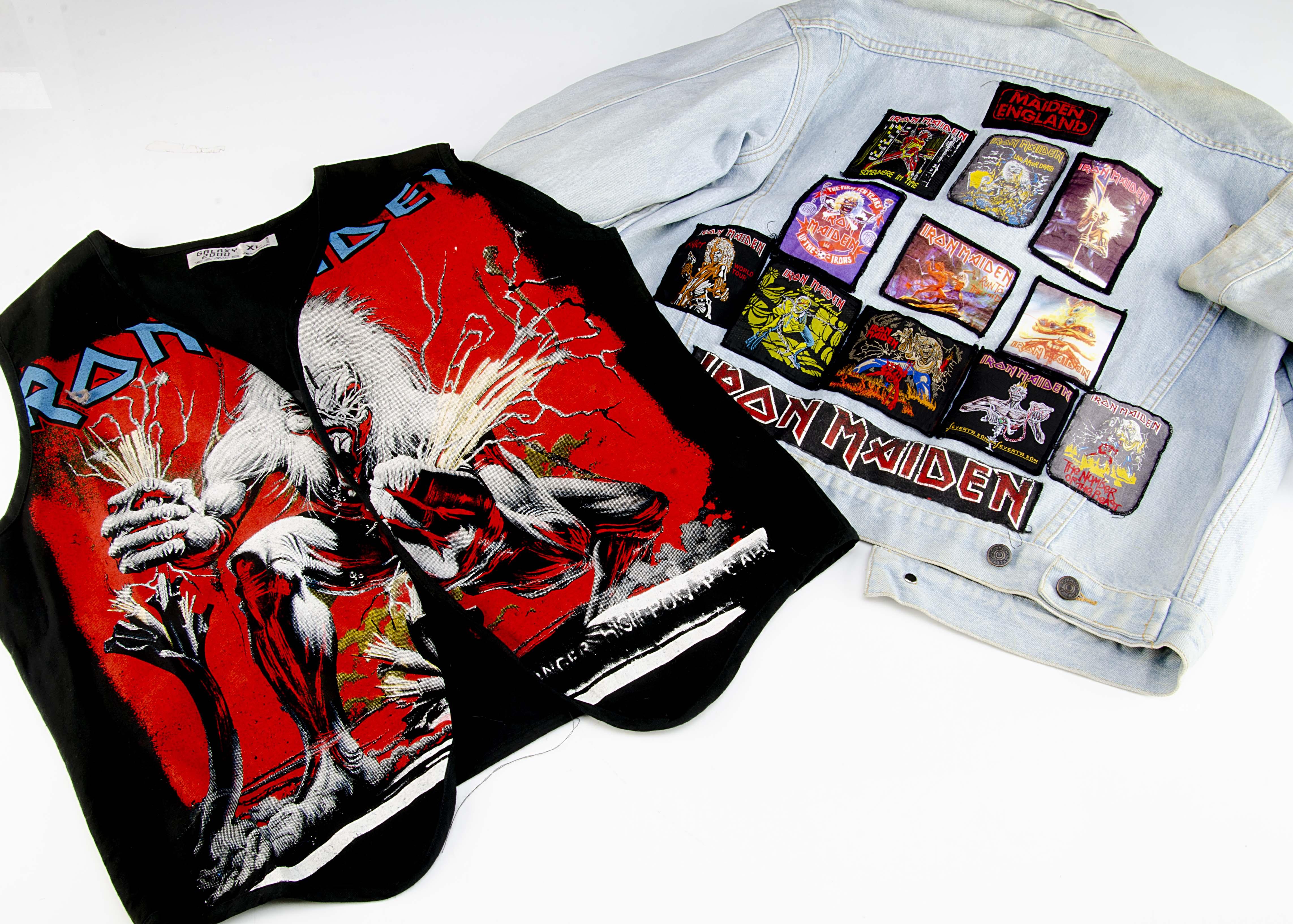 Iron Maiden Jean Jacket / Waistcoat, a Levi Style Jean Jacket with thirteen Iron Maiden badges