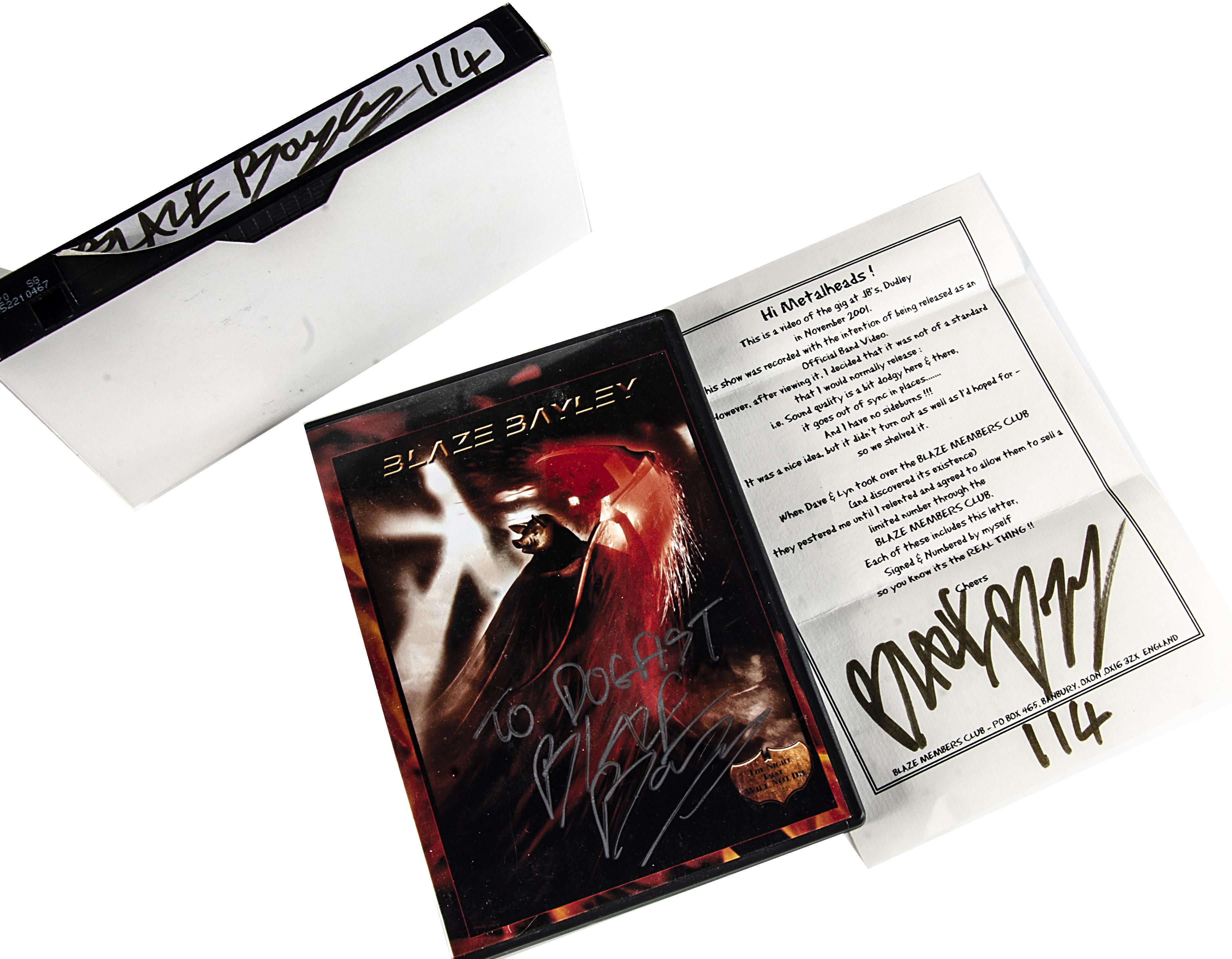 Blaze Bayley Signed Video and DVD, Blaze Live at JBs 16 Nov 2001 - Limited Edition Video for the