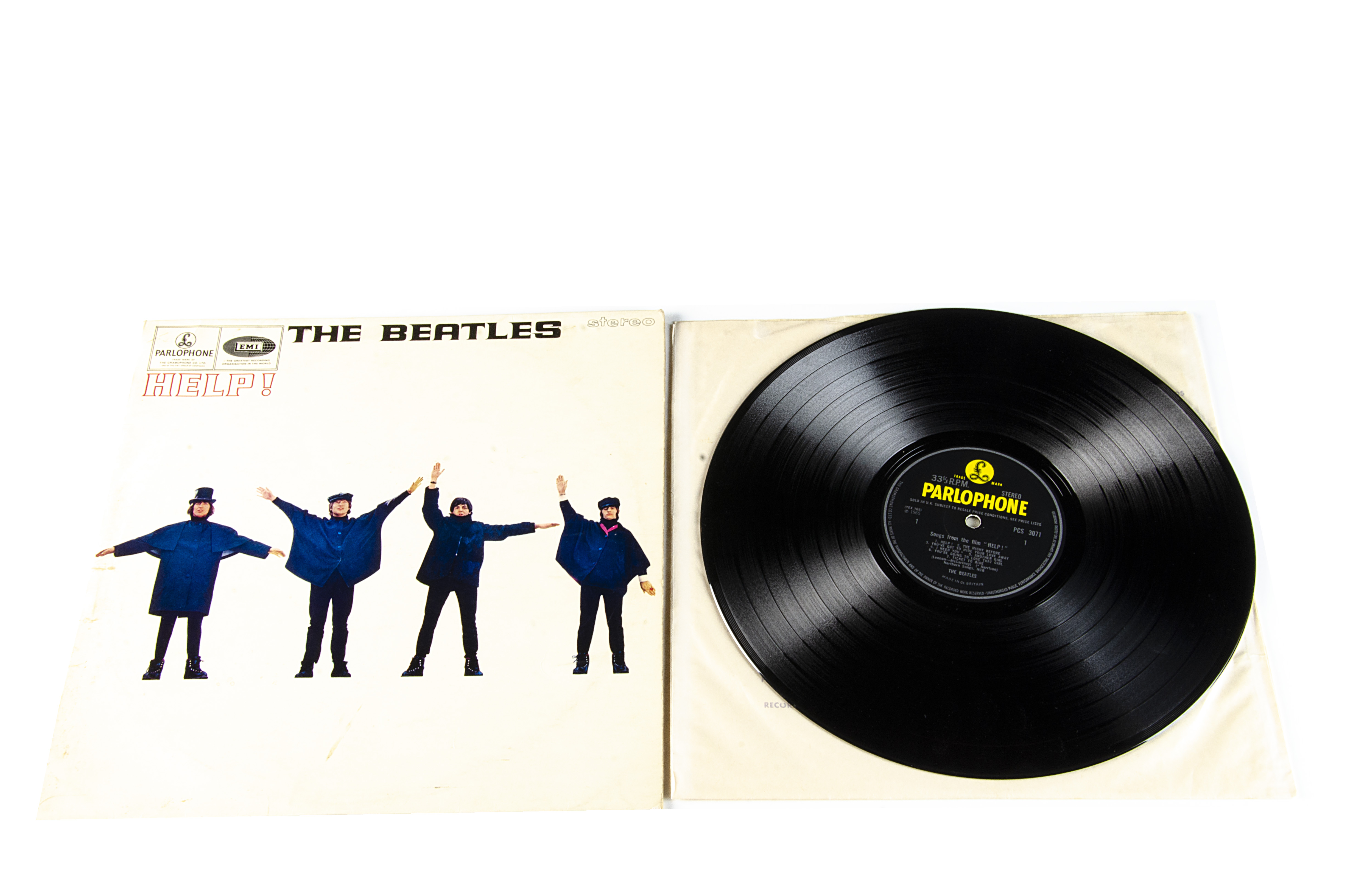 The Beatles LP, Help LP - UK First Press Stereo Release 1965 on Parlophone - PCS 3071. Laminated