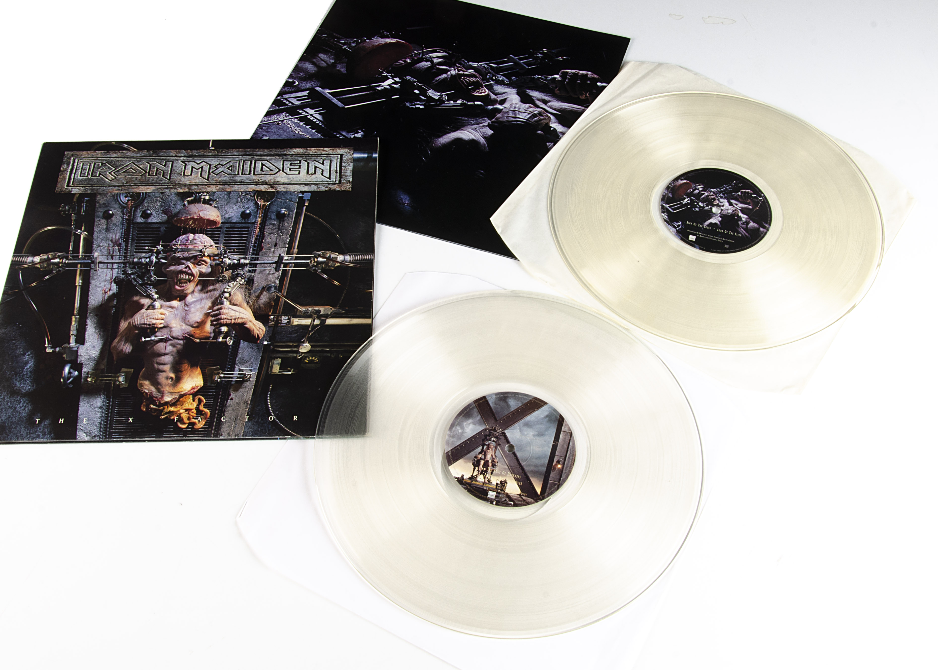 Iron Maiden LP, The X Factor Double Album - UK Clear Vinyl release 1995 on EMI (EMD 1087) - Gatefold
