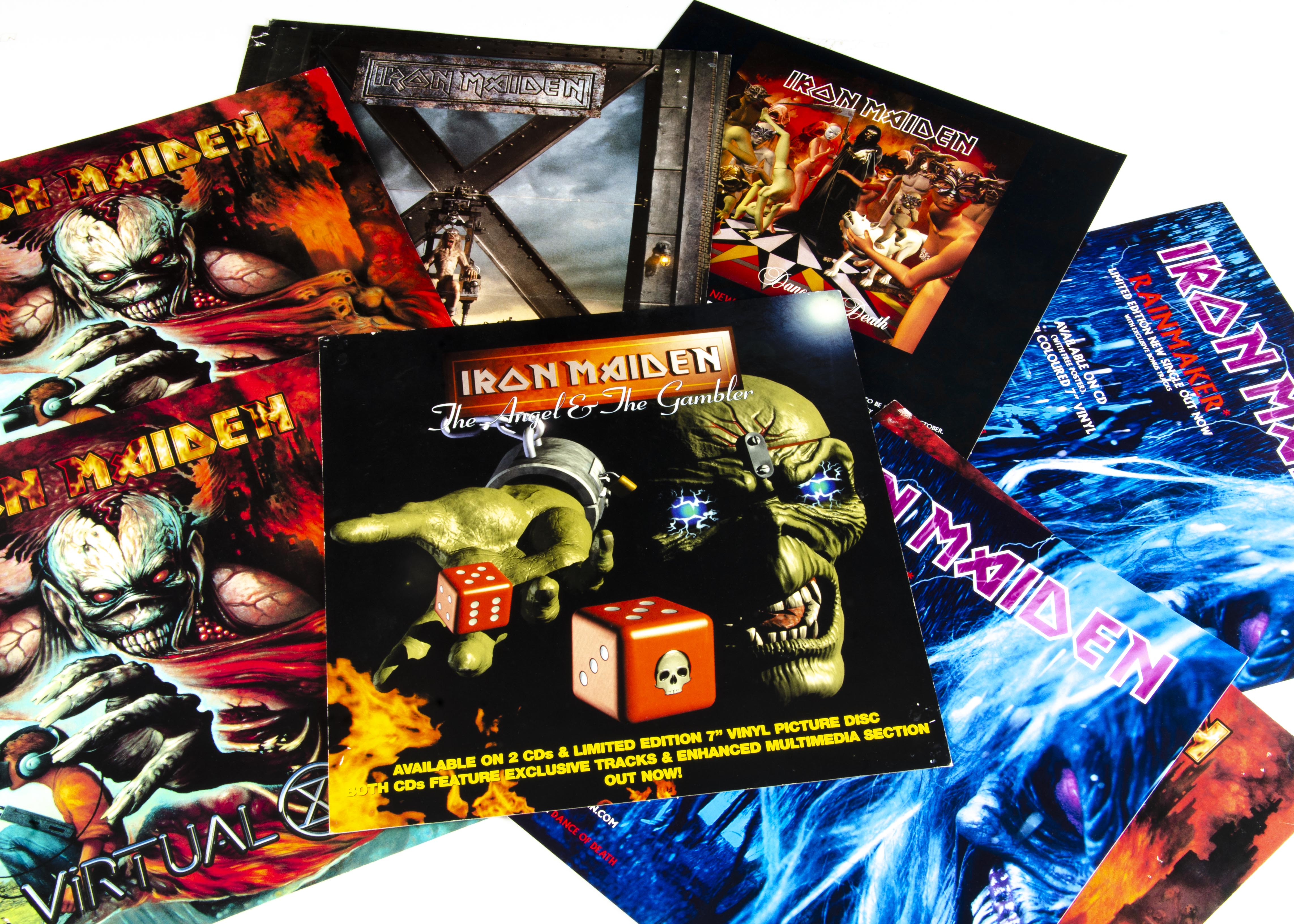 Iron Maiden Shop Display Cards, eleven LPs size cards for in-store display comprising Virtual XI (