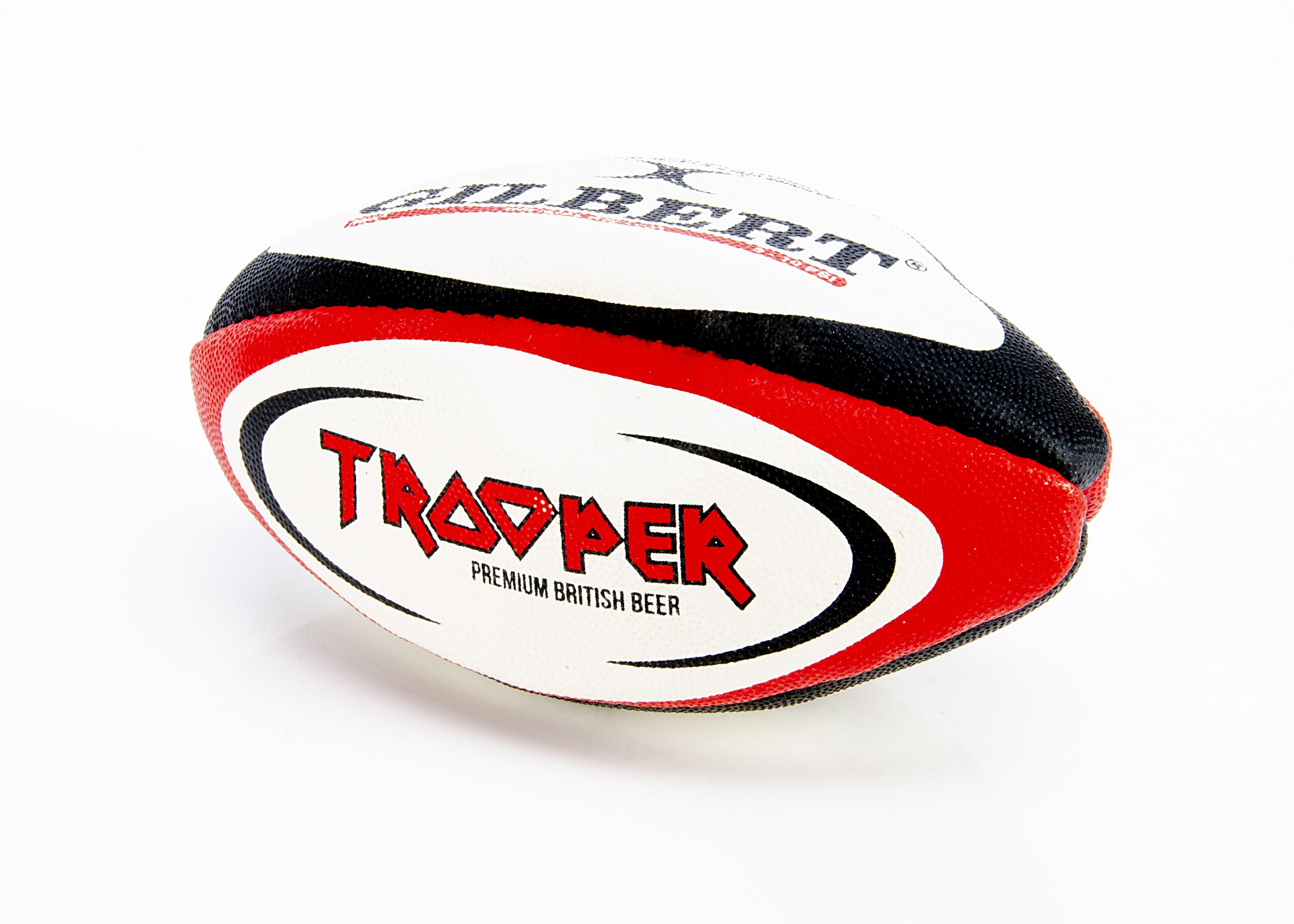 Iron Maiden Rugby Ball, Official Gilbert Replica mini Rugby Ball with Trooper and Iron Maiden