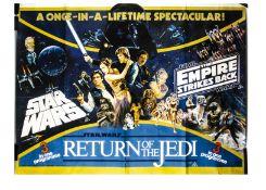 Star Wars triple-bill UK Quad Poster, Star Wars triple-bill UK Quad cinema poster, for the 1983