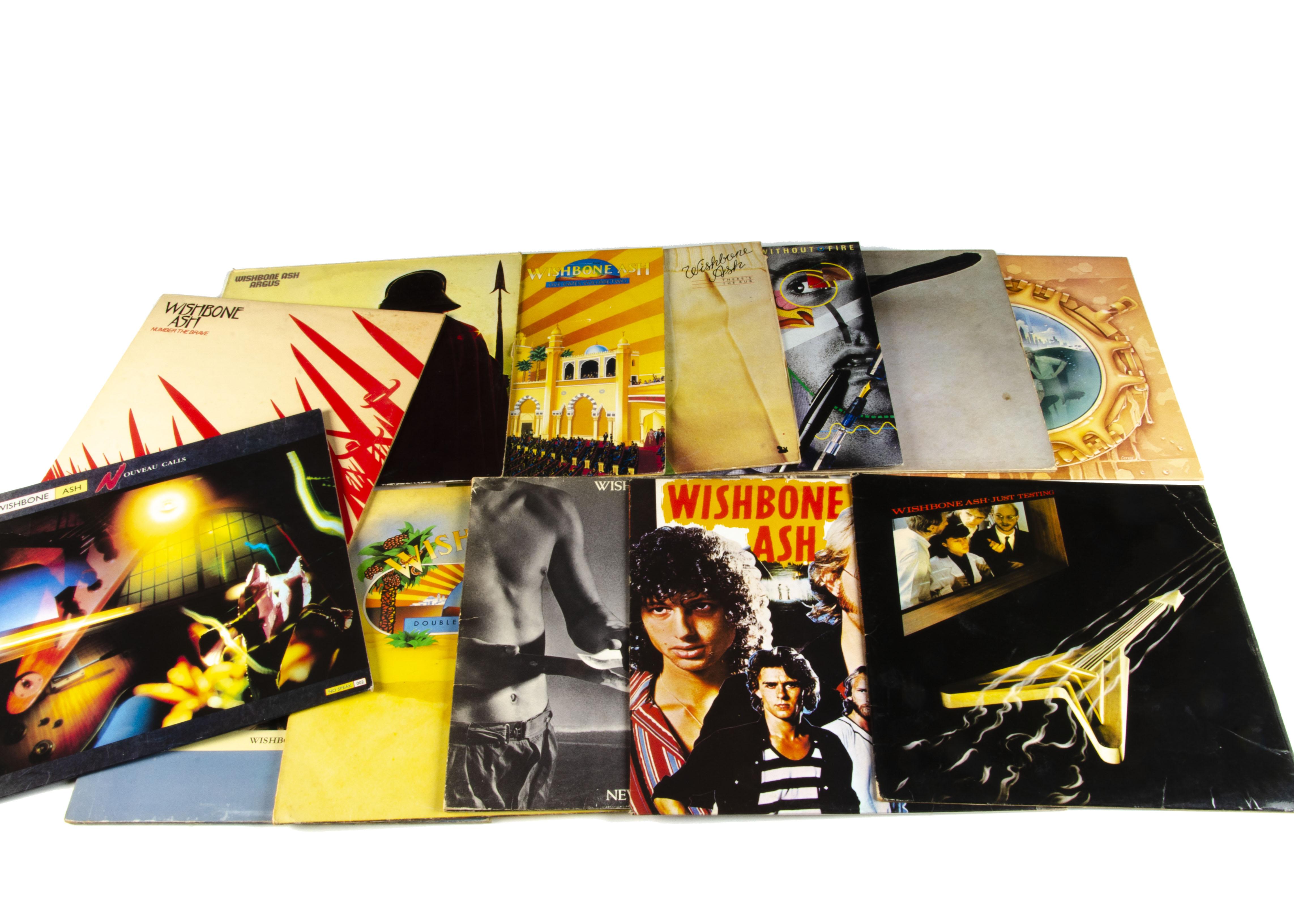 Wishbone Ash LPs, thirteen albums comprising Wishbone Ash (Pink 'Dogbone' labels), Argus (reissue) ,