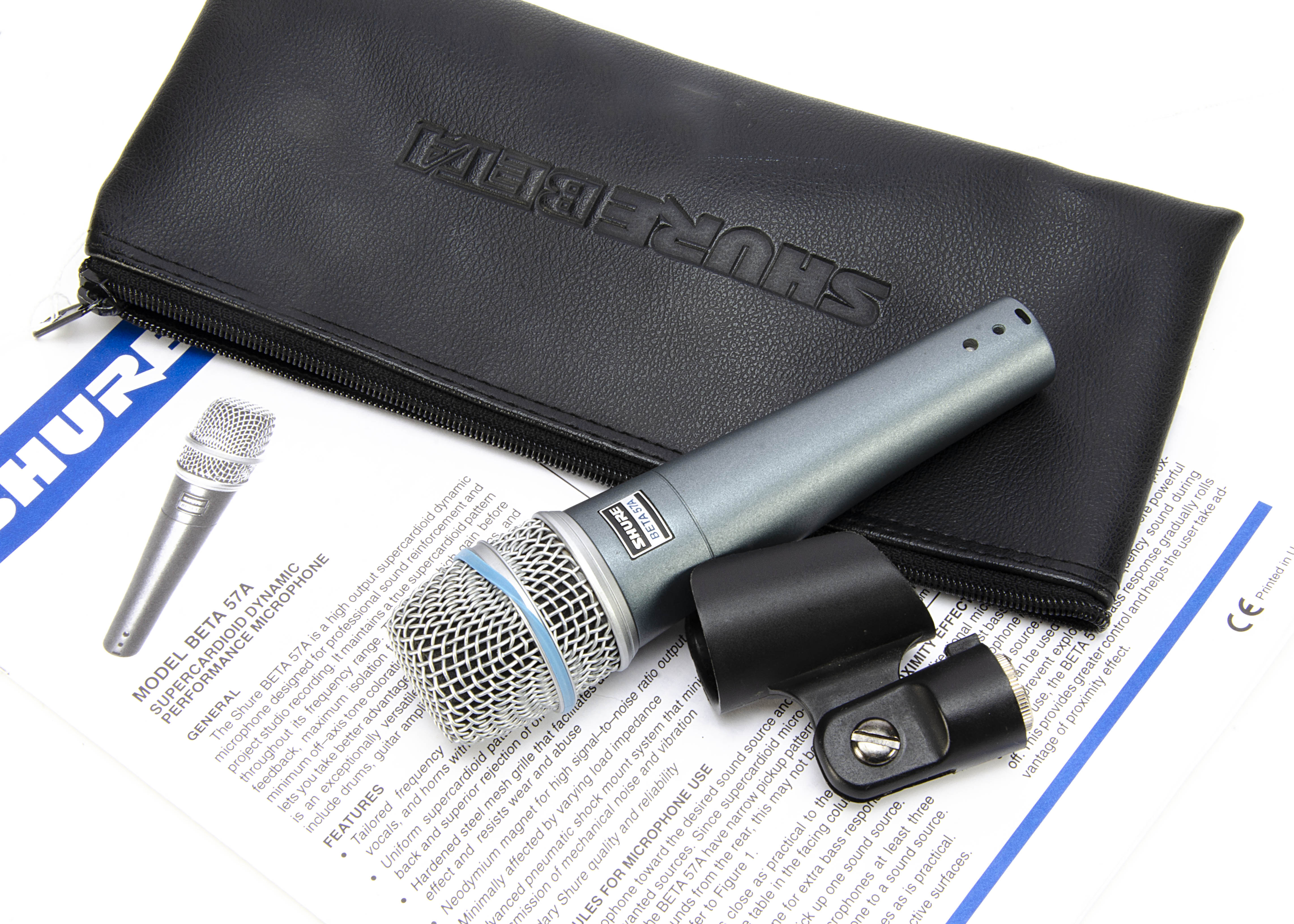 Shure Microphone, a Shure Beta 57A with carry case and stand attachment, very good condition,