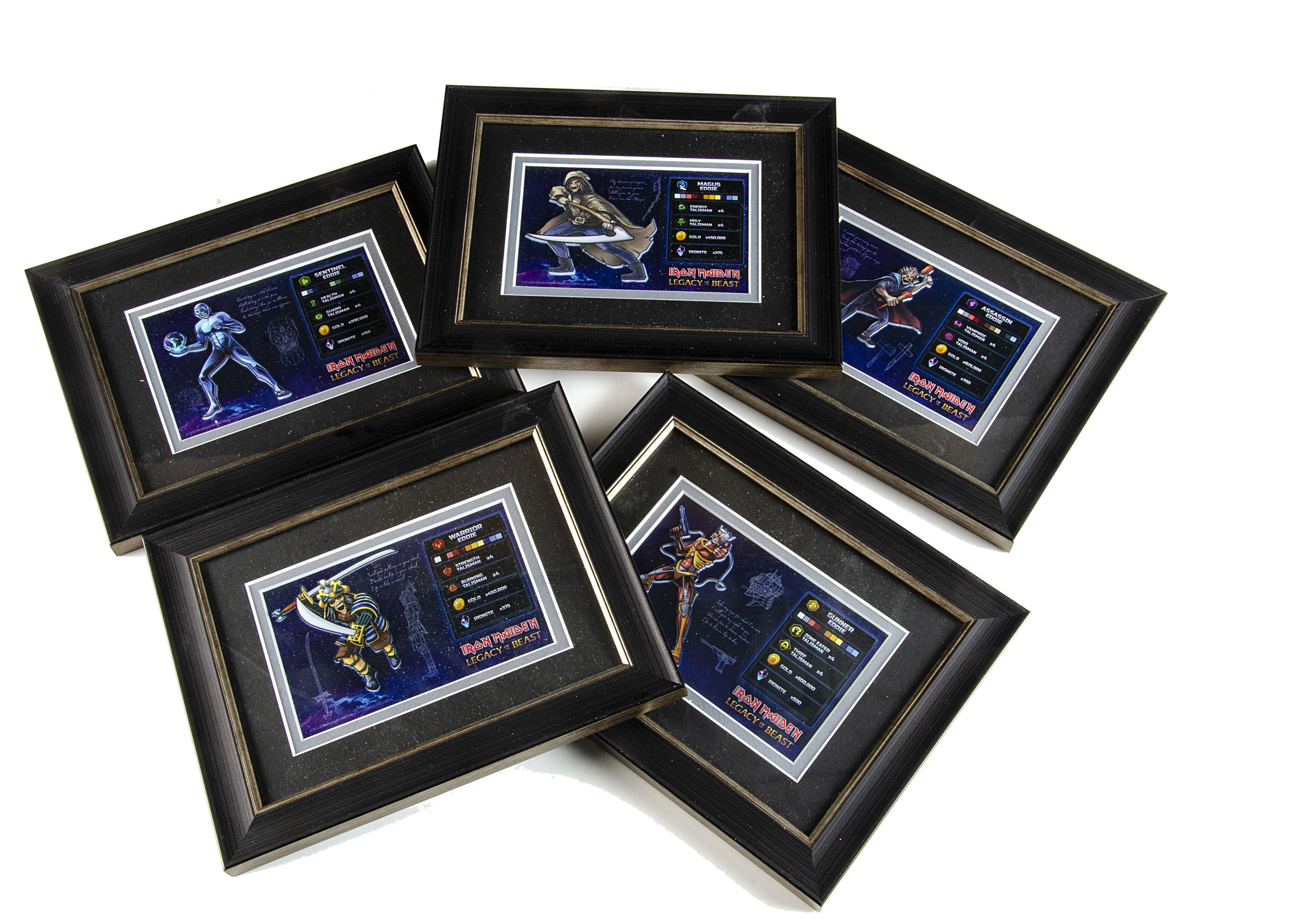 Iron Maiden / Legacy of the Beast Game, five framed and glazed 'Value' 3D Cards for the Legacy of