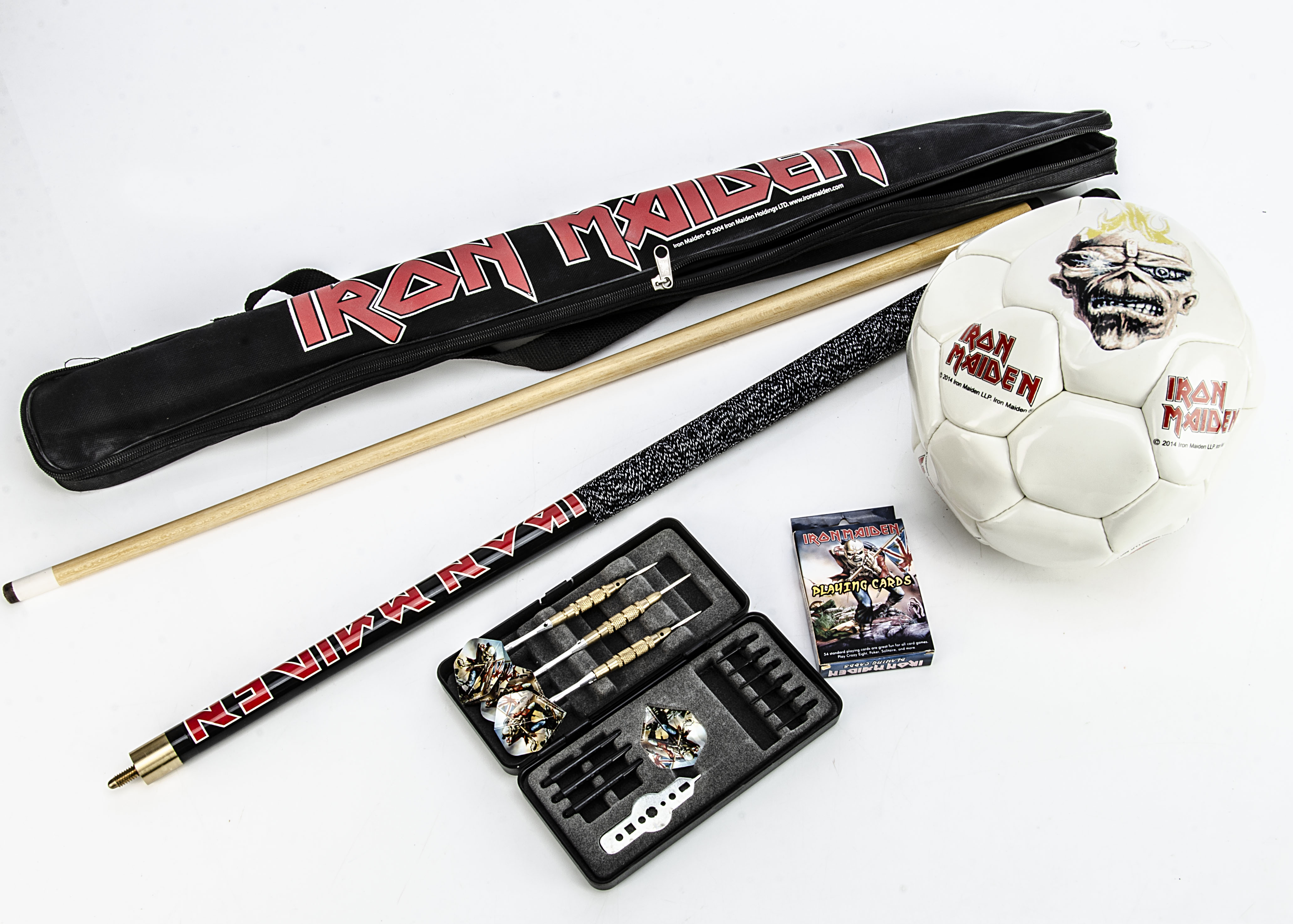Iron Maiden Games / Sports, Iron Maiden Pool Cue in Bag, Iron Maiden Dart Set in tin with spare tips