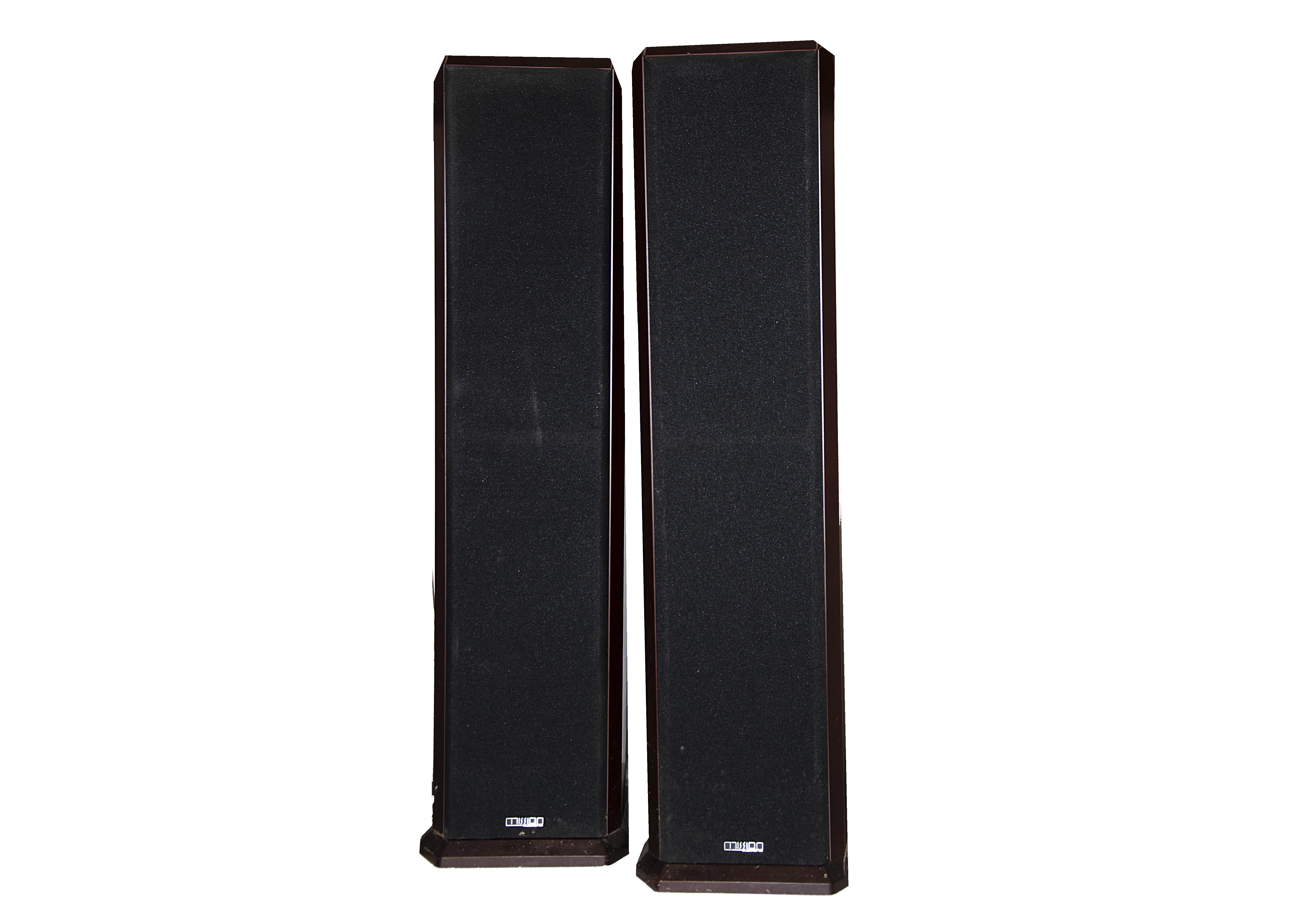 Mission Speakers, a pair of Mission 753 speakers floor standing rosewood veneer (208mm w x 315mm d x