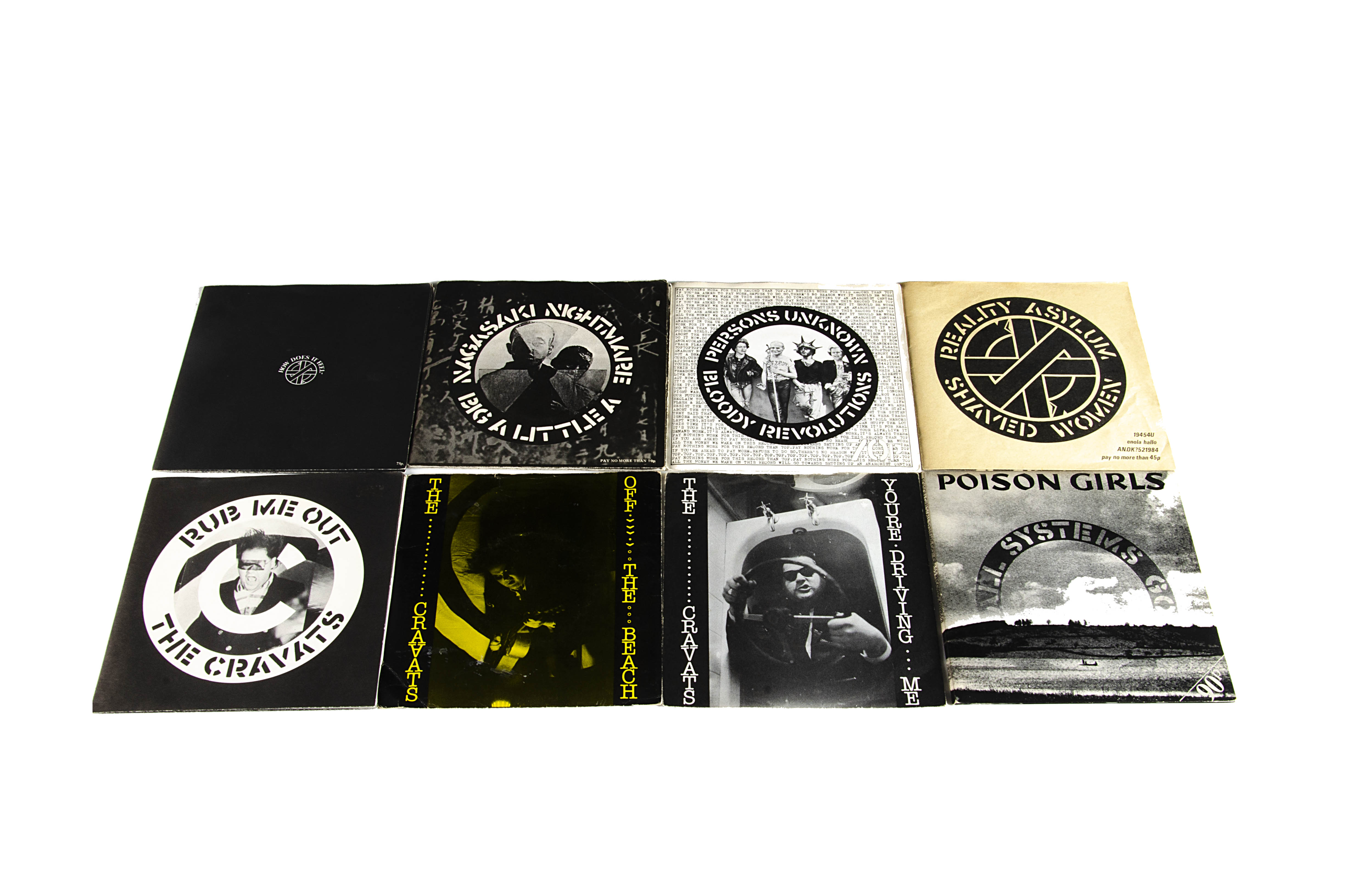 """Crass and Related 7"""" singles, eight 7"""" singles comprising Crass: Reality Asylum, Persons Unknown,"""