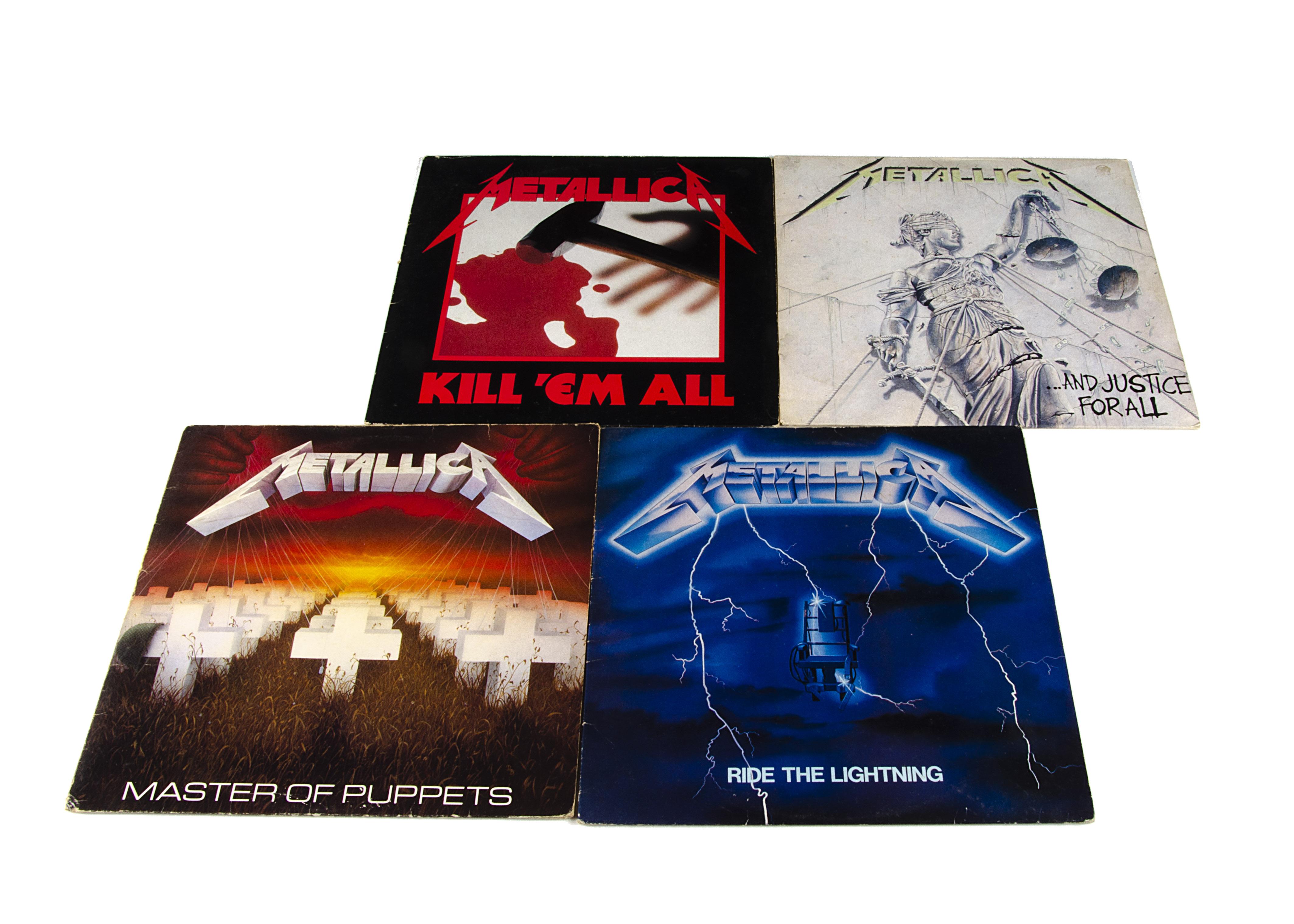 Metallica LPs, four original UK albums comprising Ride The Lightning (with inner VG/VG+), Master