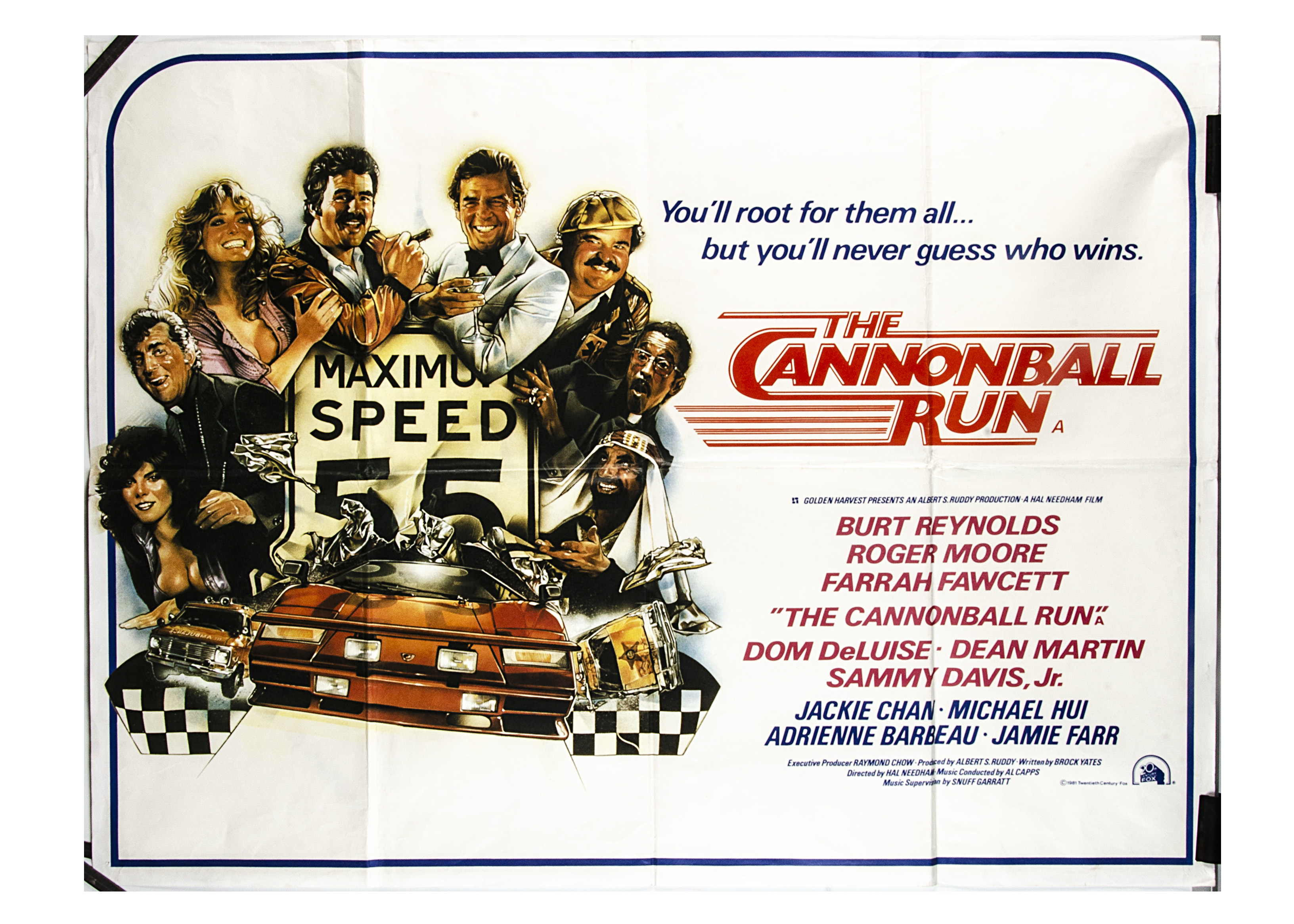 Cannonball Run UK Quad Poster, Cannonball Run (1981) UK Quad cinema poster, for the road movie
