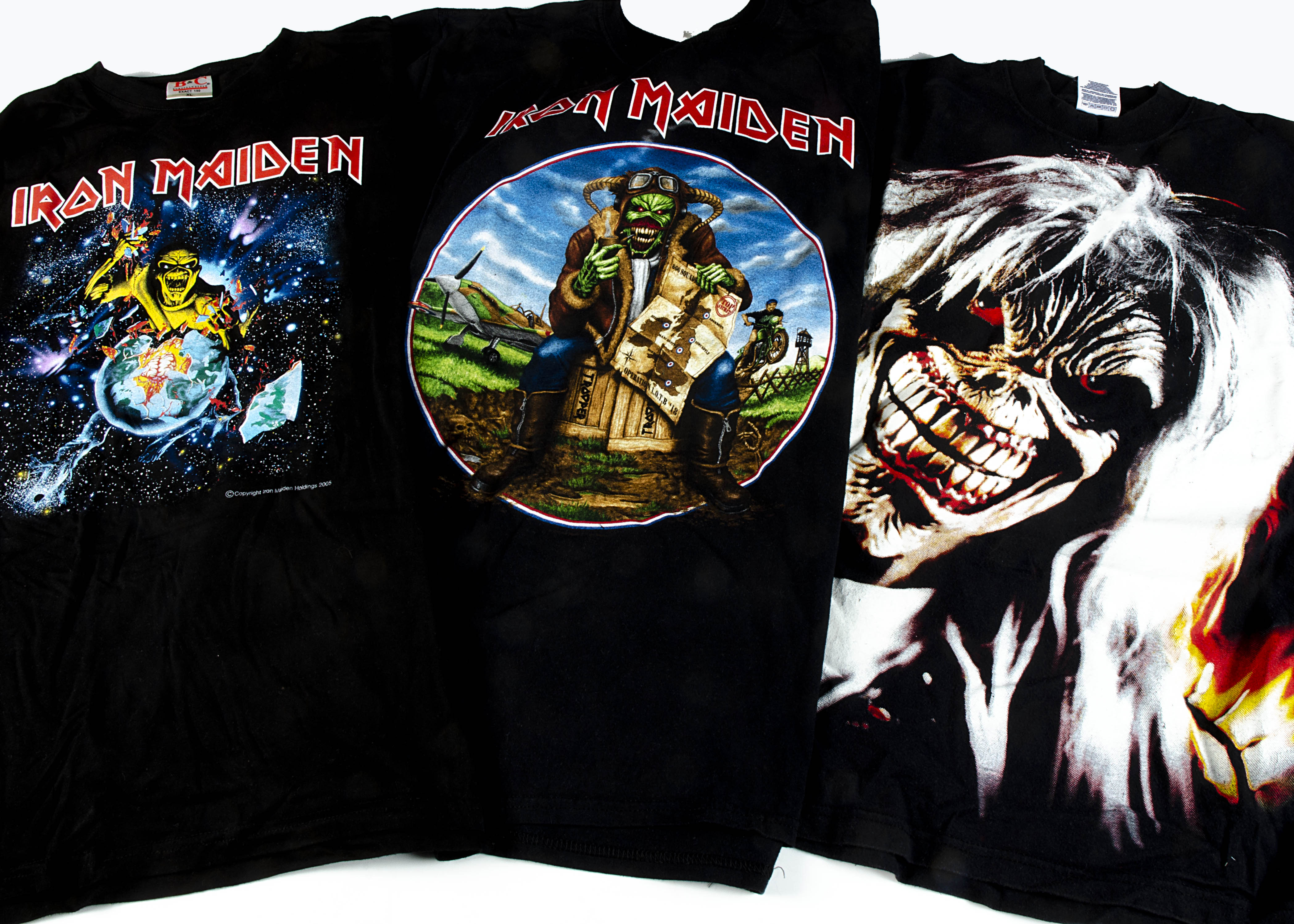 Three Iron Maiden 'T' Shirts, Iron Maiden 'T' shirts - Eddie rips up Europe tour 2005 shirt with