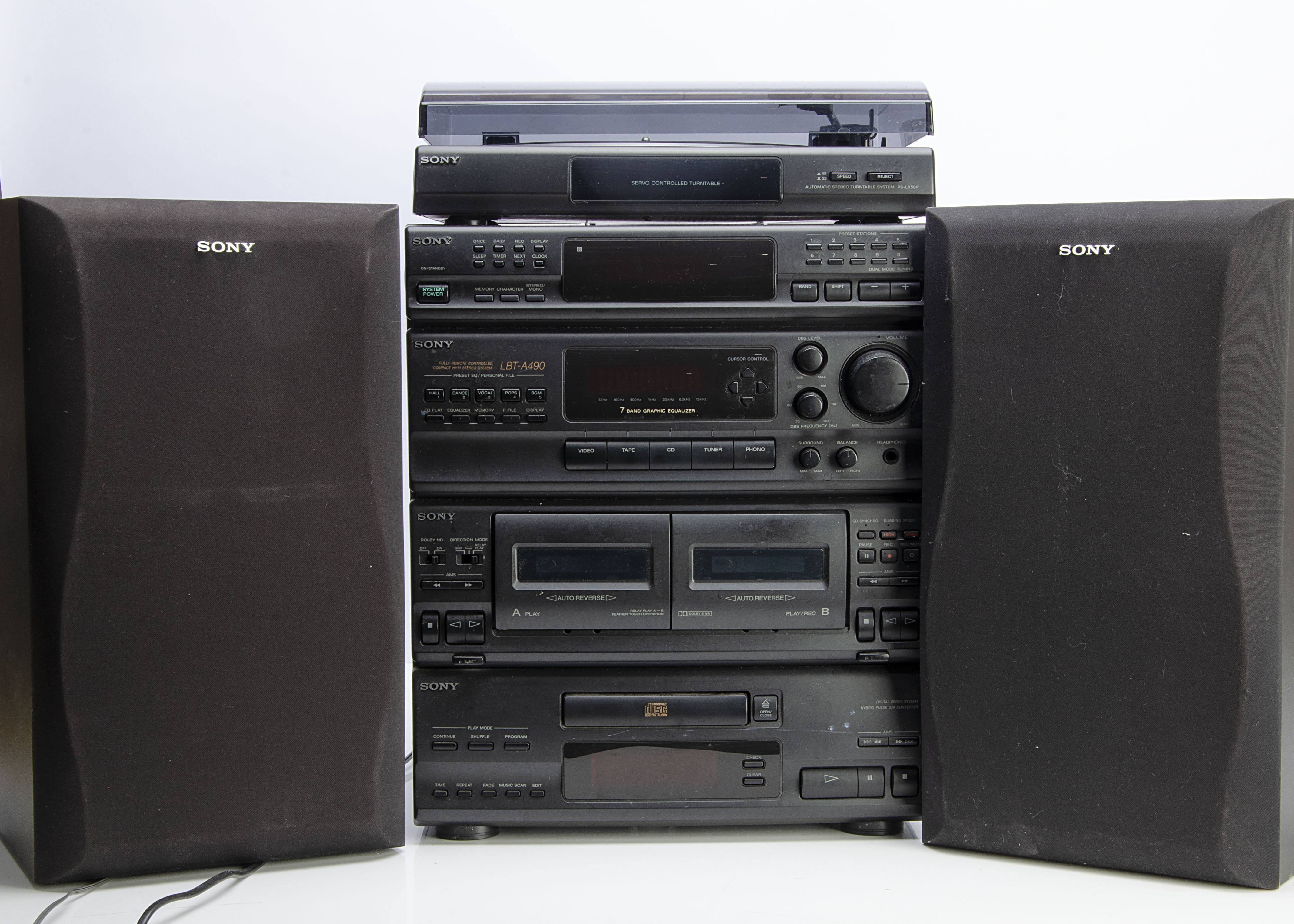 Sony Stereo System, a complete Sony stack system model LBT-A490 (cassette / tuner / CD) with deck
