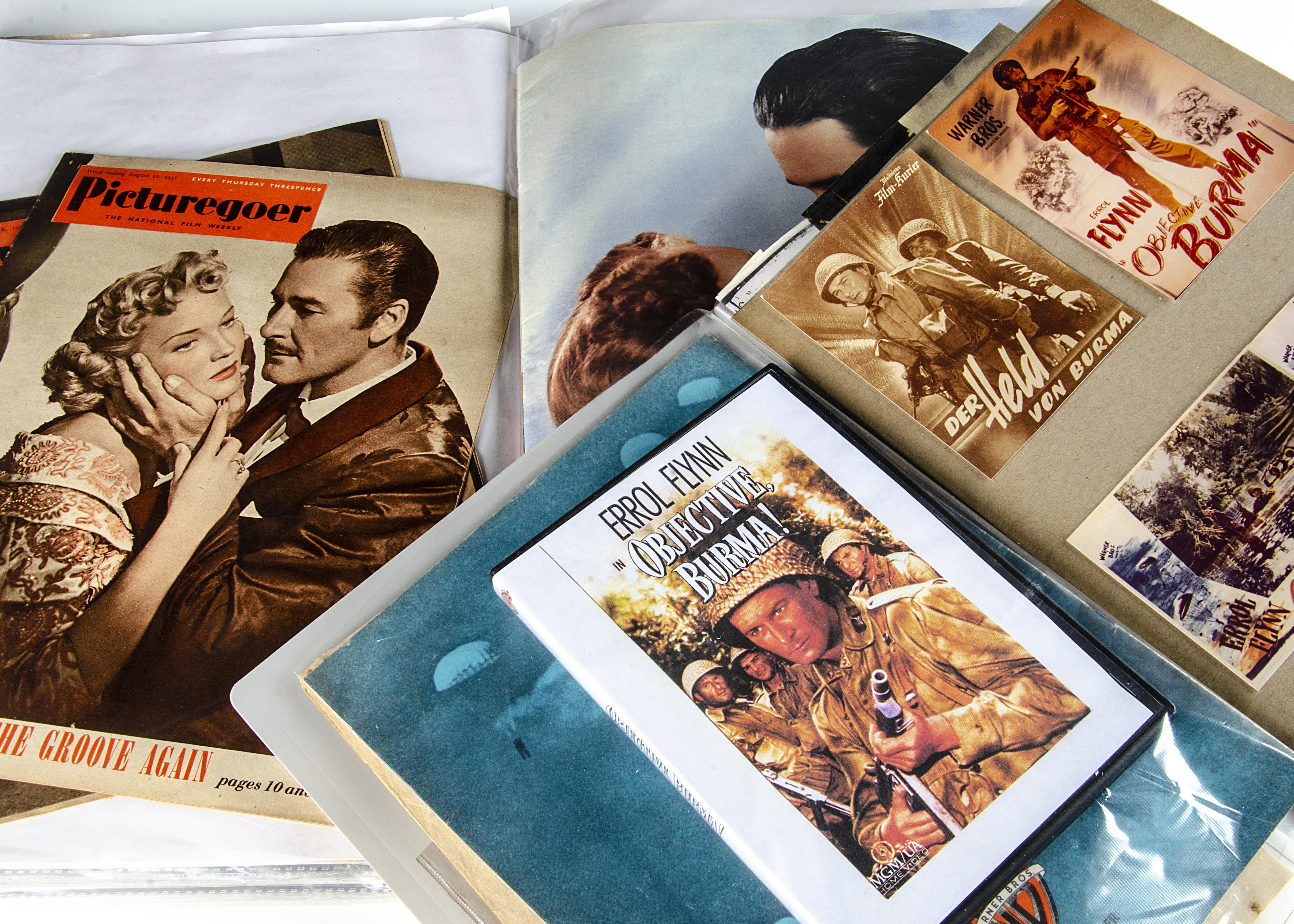 Errol Flynn / Objective Burma, two large folders containing a mass of information and memorabilia