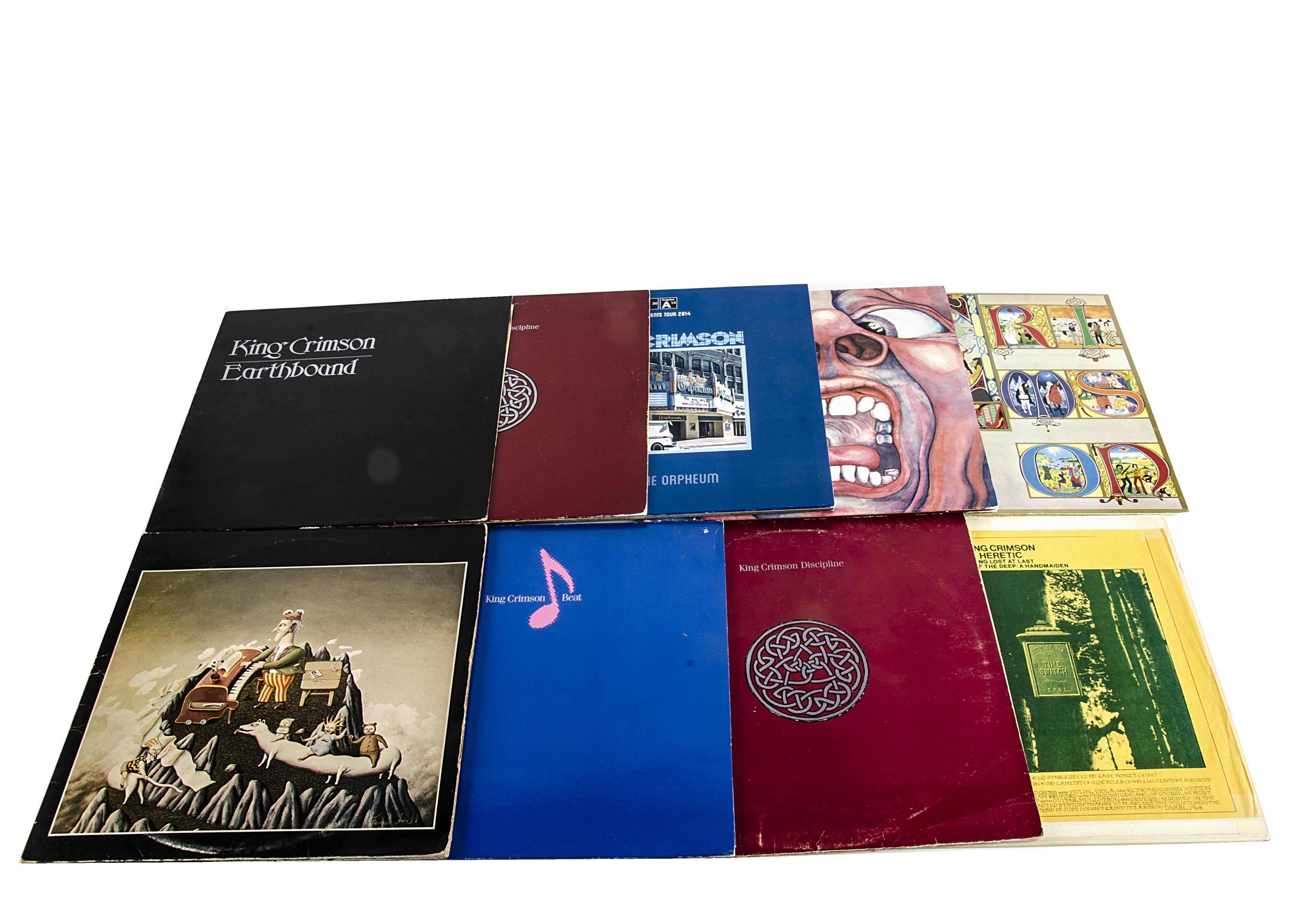 King Crimson LPs, nine albums comprising Earthbound, Discipline (2 copies), Beat, Lizard (