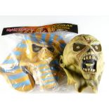 Iron Maiden Latex Masks, two NECA rubber masks comprising Powerslave (in numbered Bag) and Piece