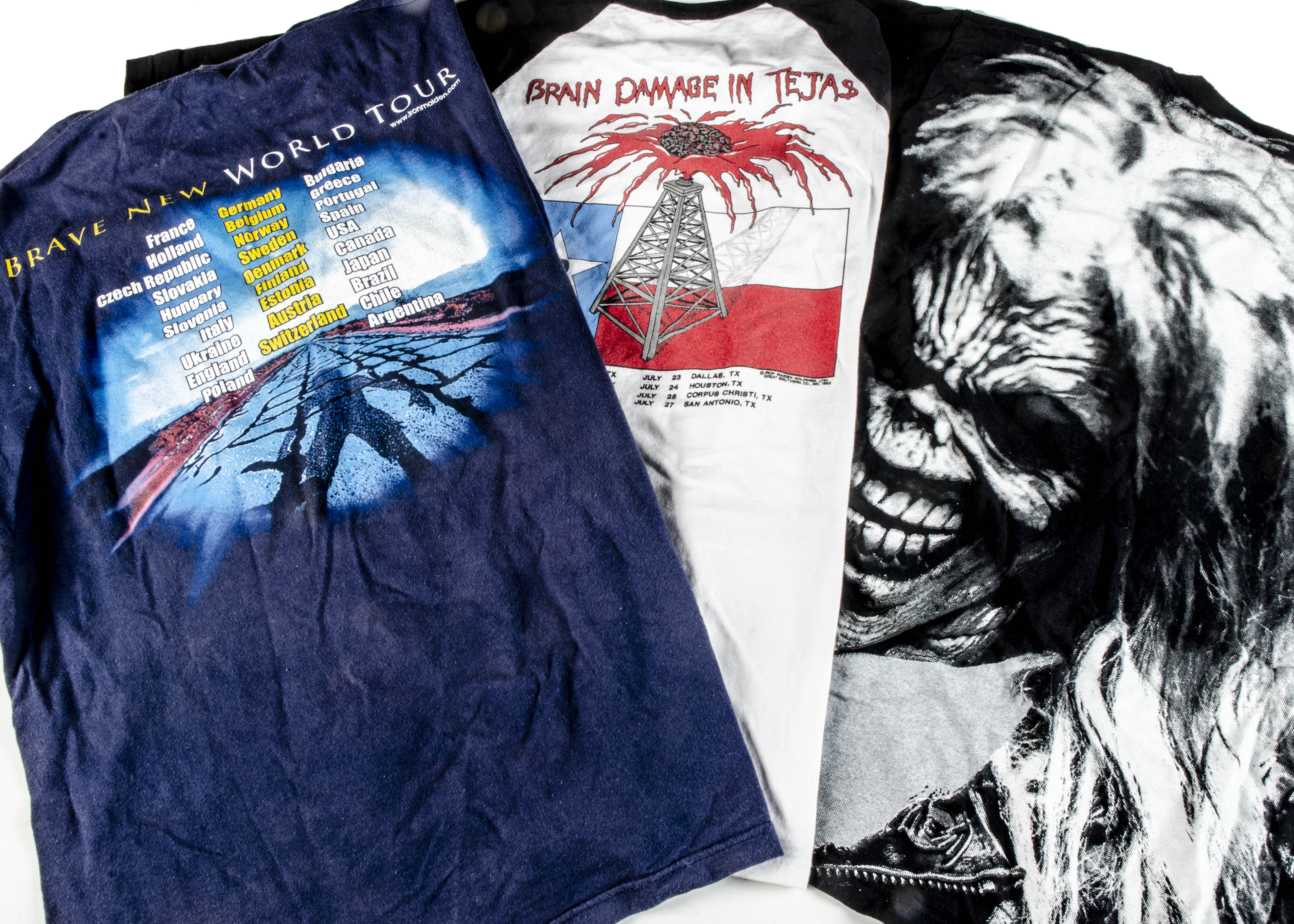 Iron Maiden 'T' Shirts, three Iron Maiden 'T' shirts - Brave New World Tour 2000/01 sized L very - Image 2 of 2