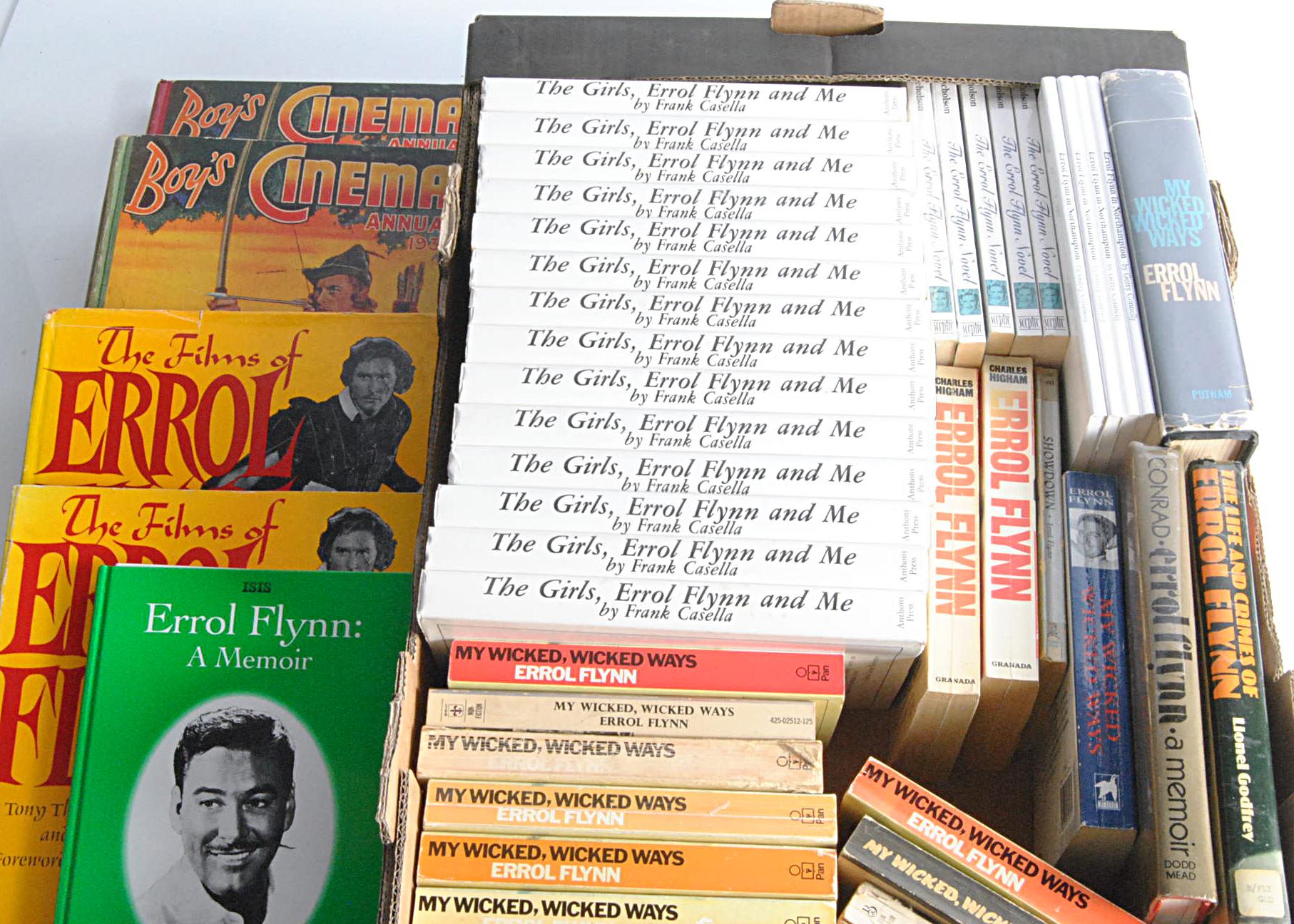 Errol Flynn Books, forty plus Errol Flynn books with duplicates including fourteen 'My Wicked Wicked