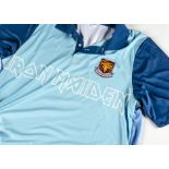 Iron Maiden 'Seventh Son of Seventh Son' Football Shirt, a light and dark blue Iron Maiden
