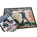 Three Errol Flynn Posters, a framed and glazed collage of small prints of Errol Flynn in many