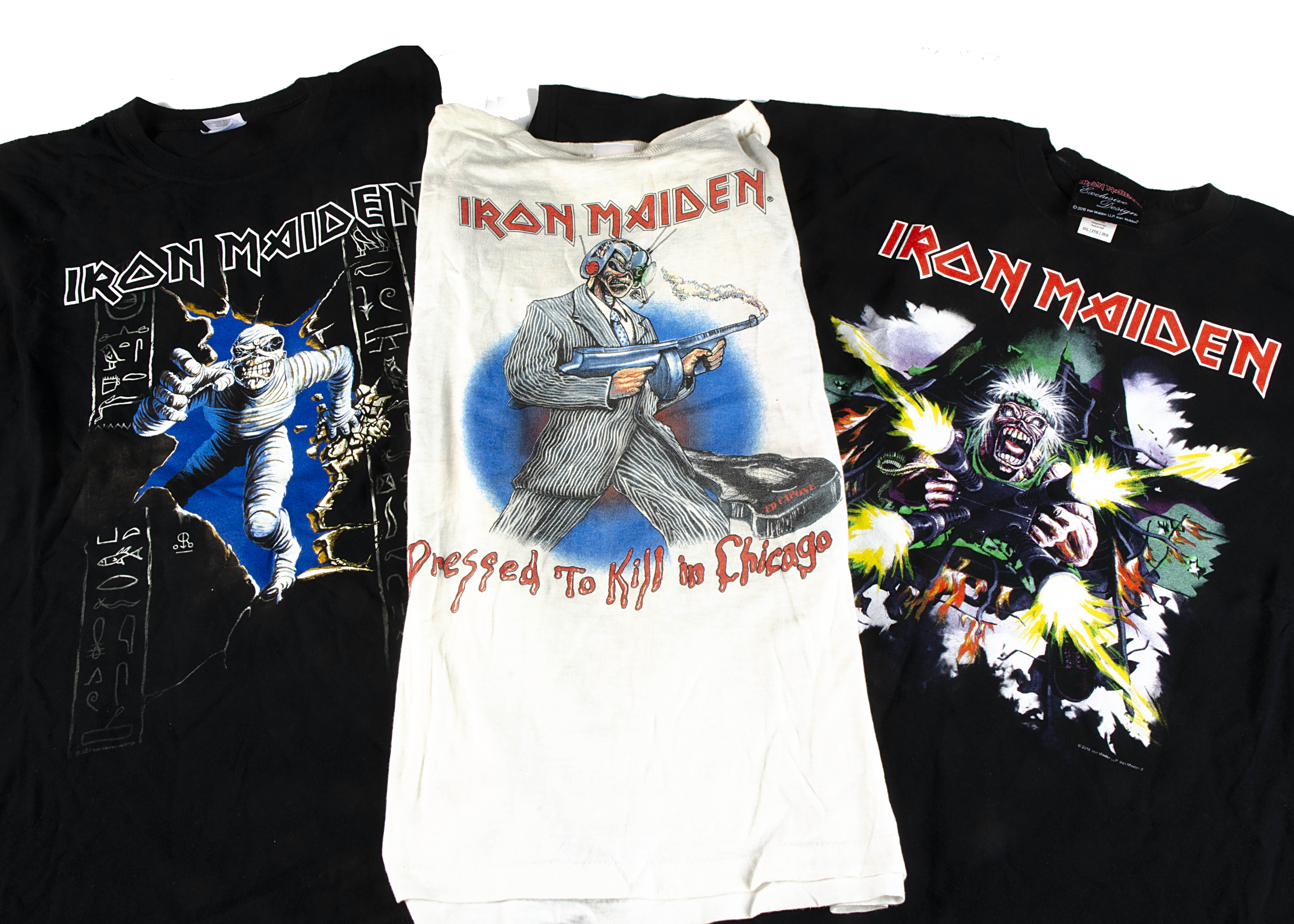 Iron Maiden 'T' Shirts, five Iron Maiden 'T' shirts - 2 X dressed to Kill in Chicago XL & M (used