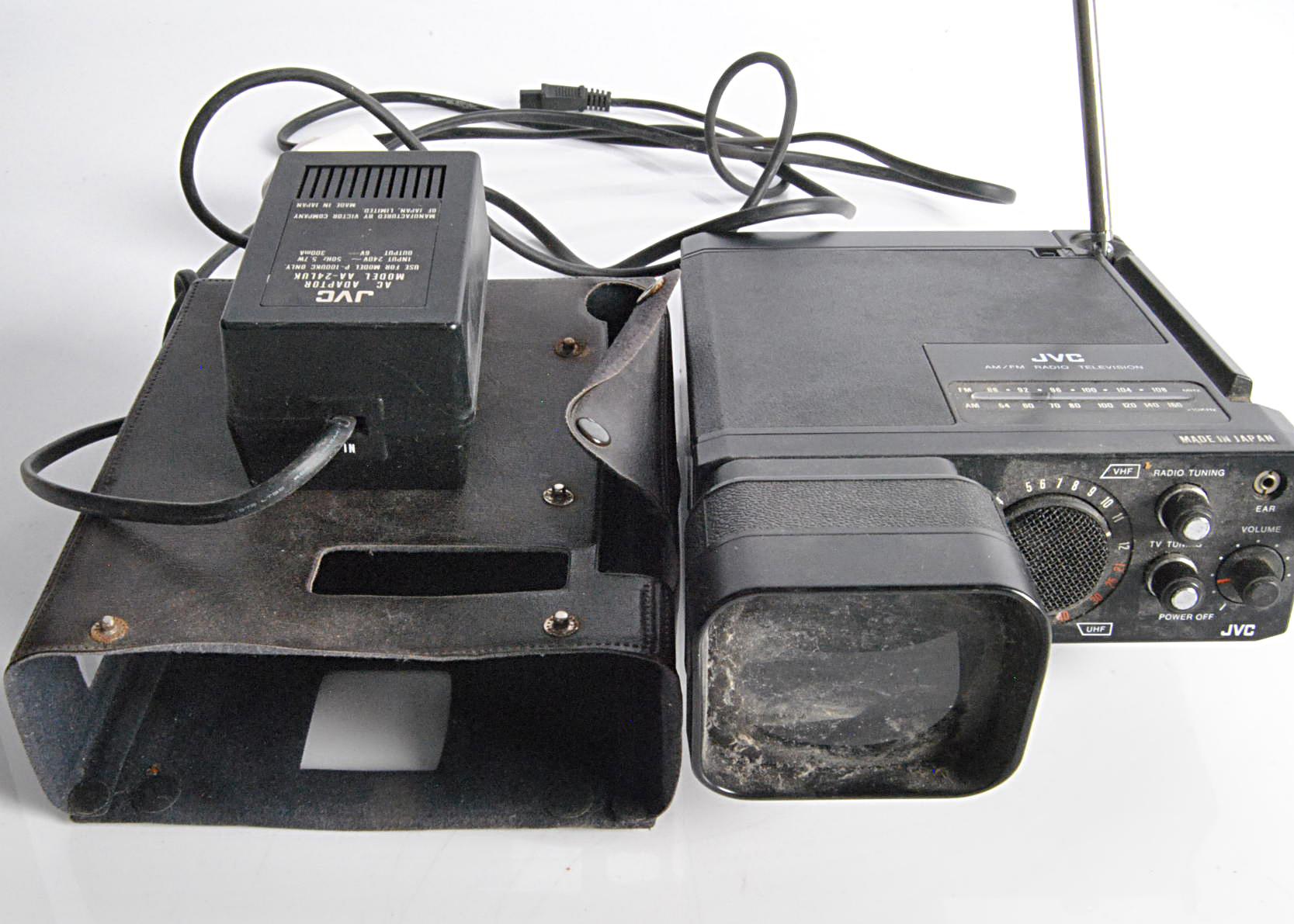 JVC Portable TV / Radio, JVC model P-100UKC Portable Television / Radio - with original leather