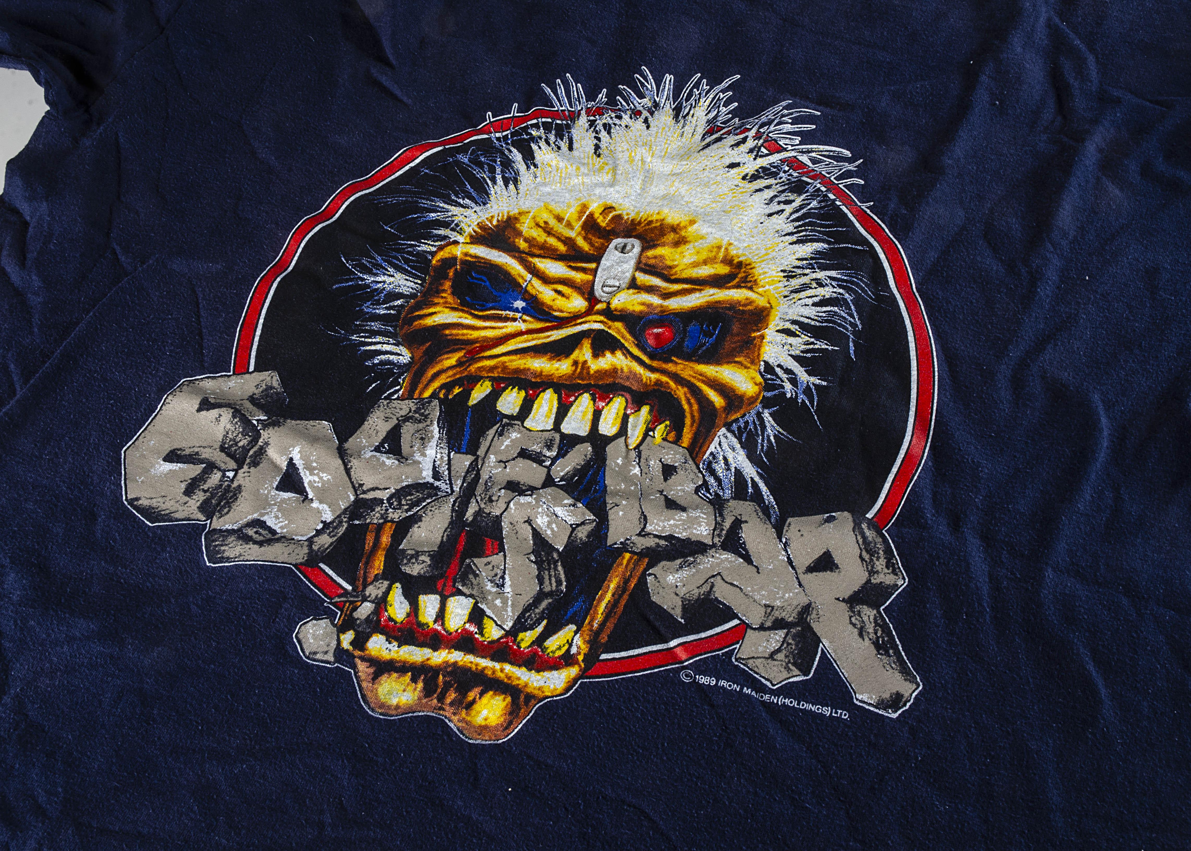 Iron Maiden Eddie 'T' Shirt, Iron Maiden 'T' shirt - Eddie's Bar 1989 blue shirt to reverse 'Eddie's
