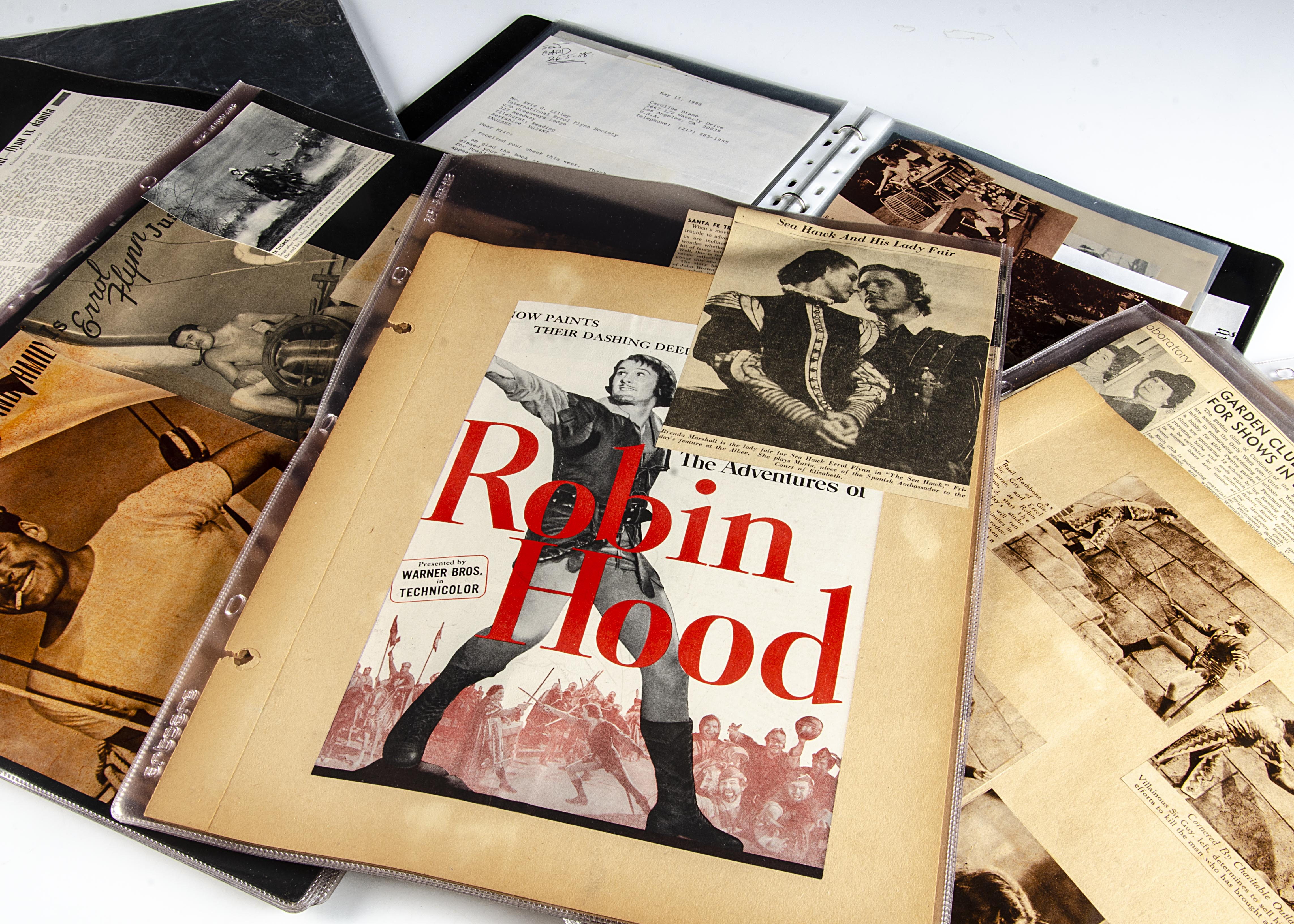 Errol Flynn Scrap Books, a number of interesting folders containing numerous press cuttings,