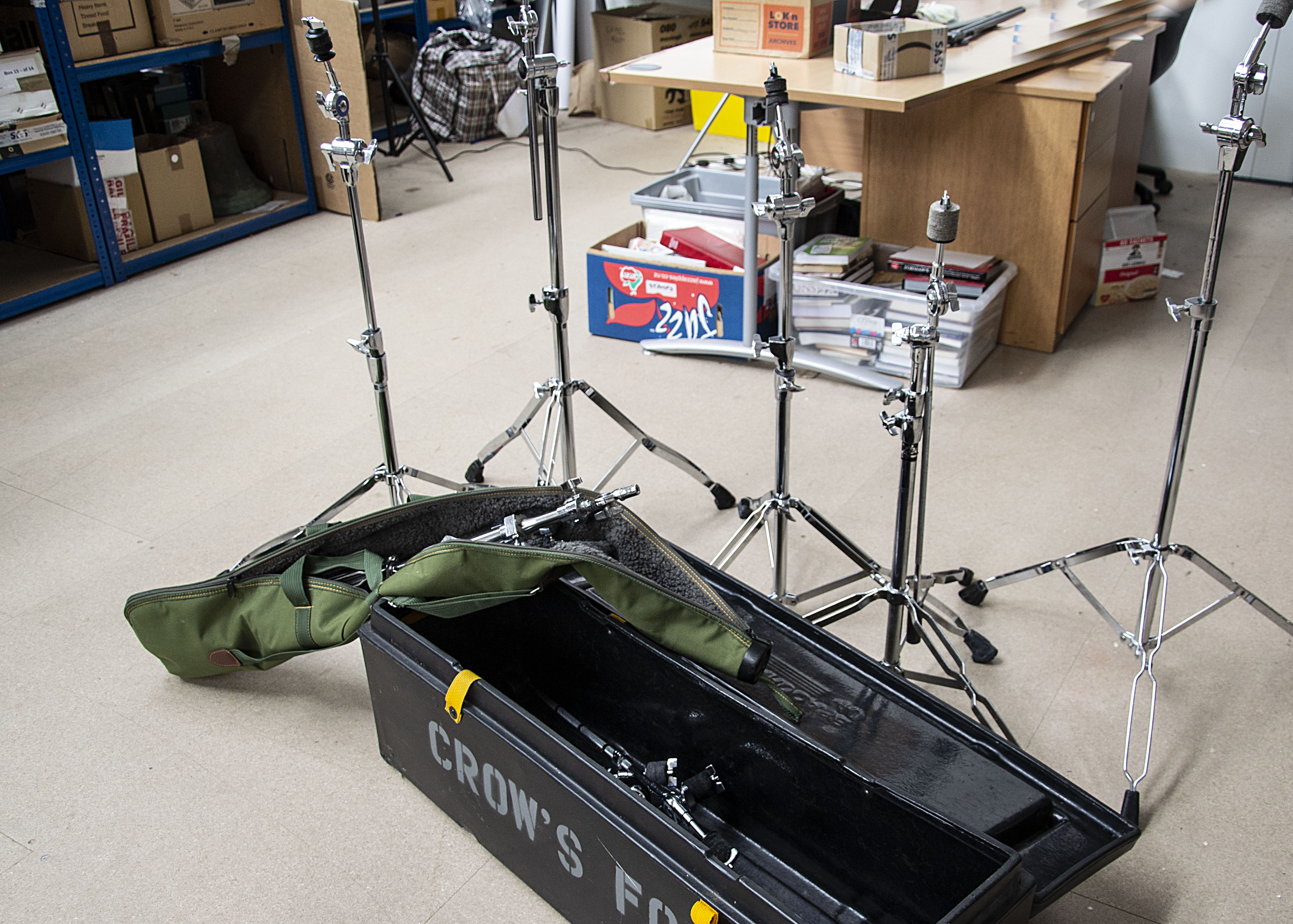 Cymbal Stands, five cymbal stands with a number of attachments, a further two stands in padded carry