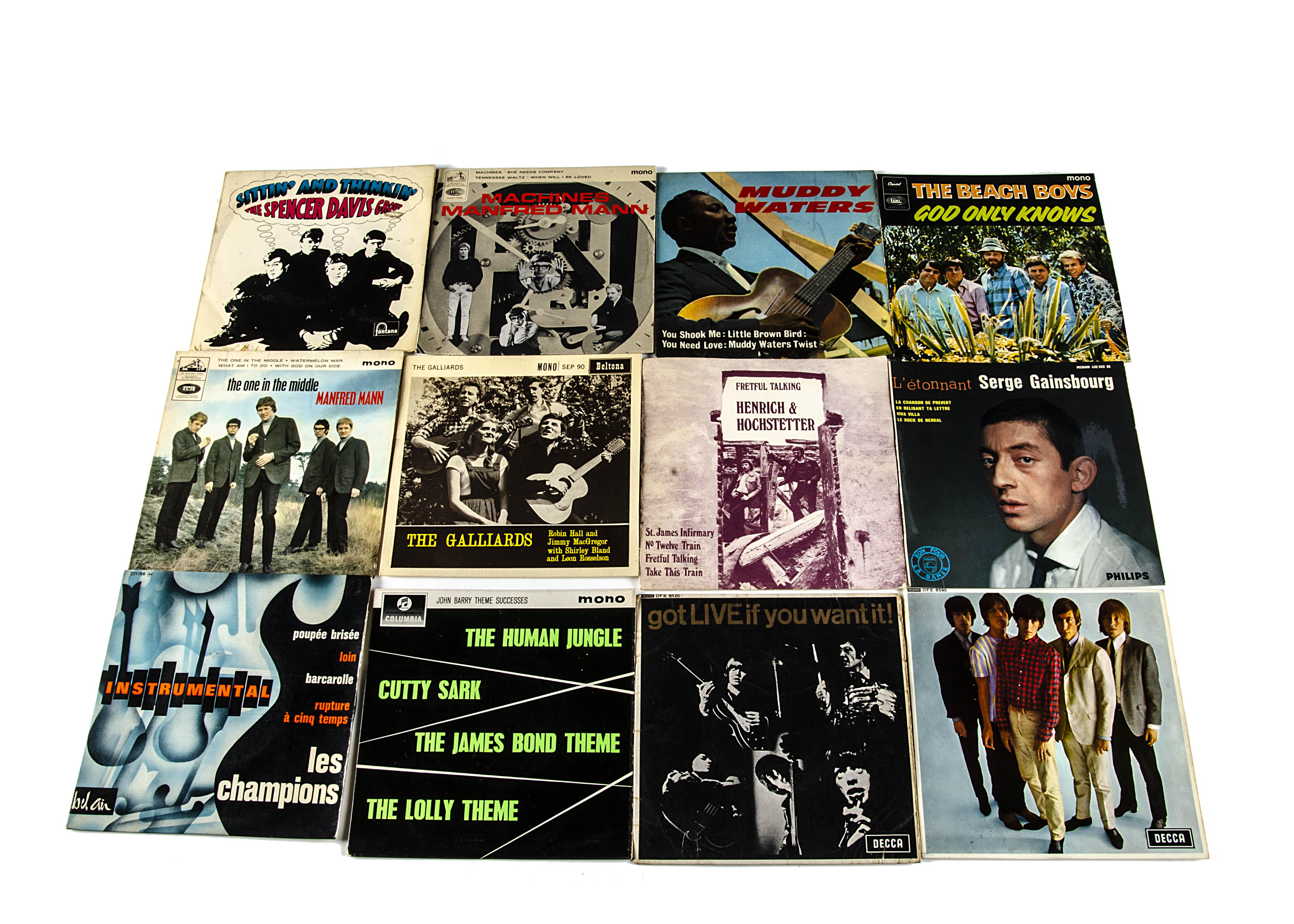 Sixties EPs, twelve EPs, mainly from the Sixties with artists comprising Beach Boys, Muddy Waters,