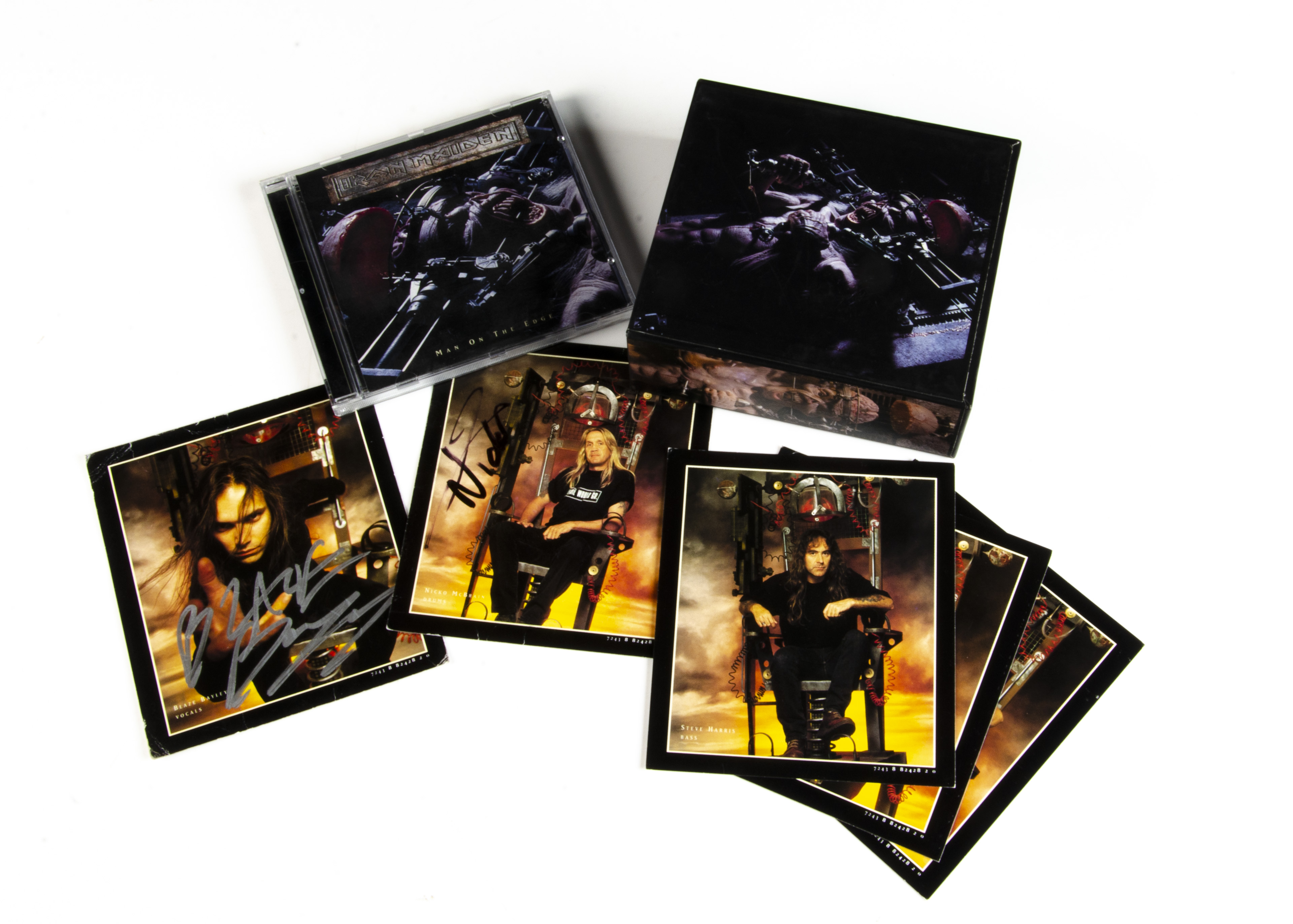 Iron Maiden Signed CD Single, Man On The Edge CD Single Box released 1995 on EMI (CDEMS 398) -