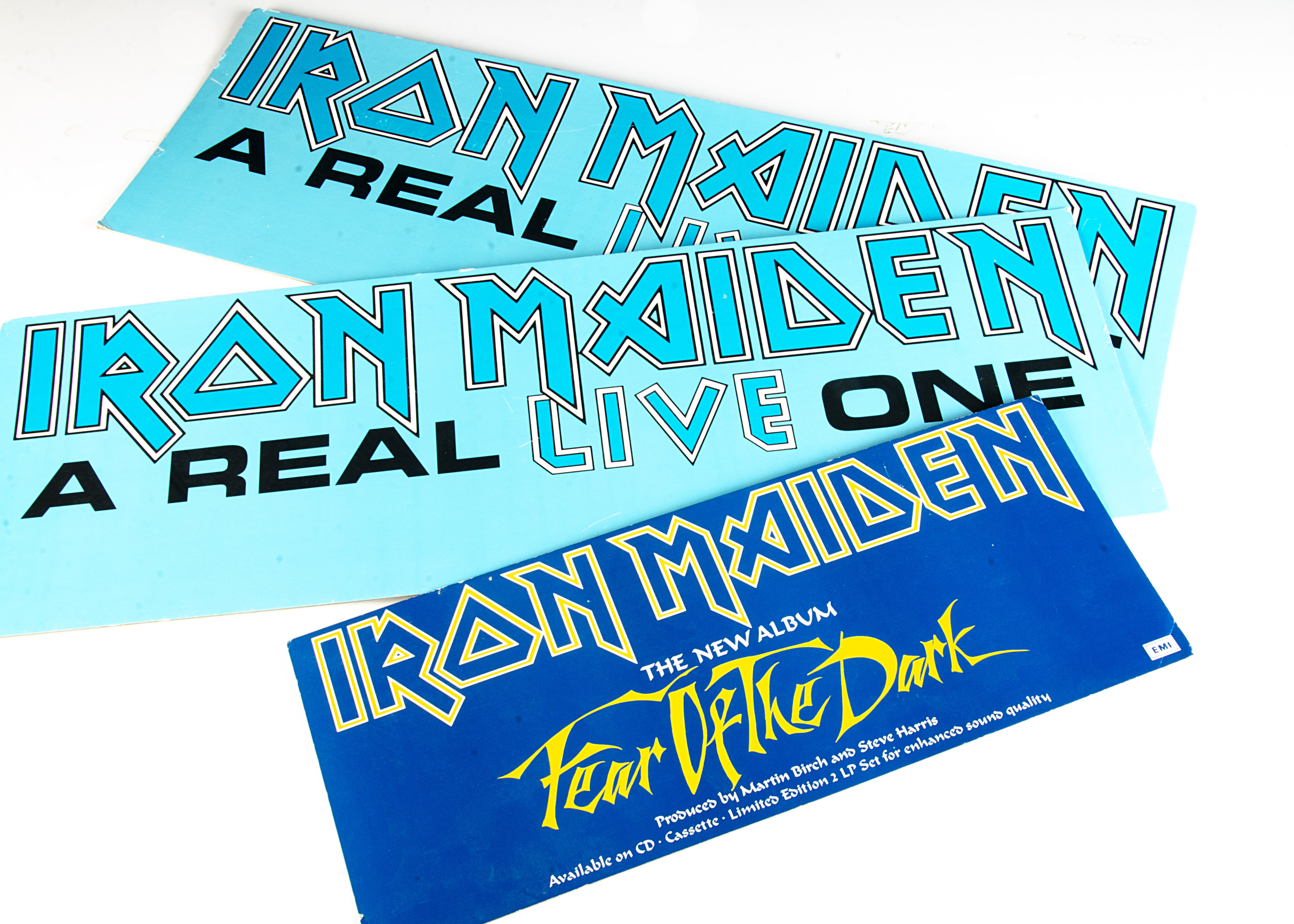 Iron Maiden Store Displays, three original card shop displays comprising two for A Real Live one and