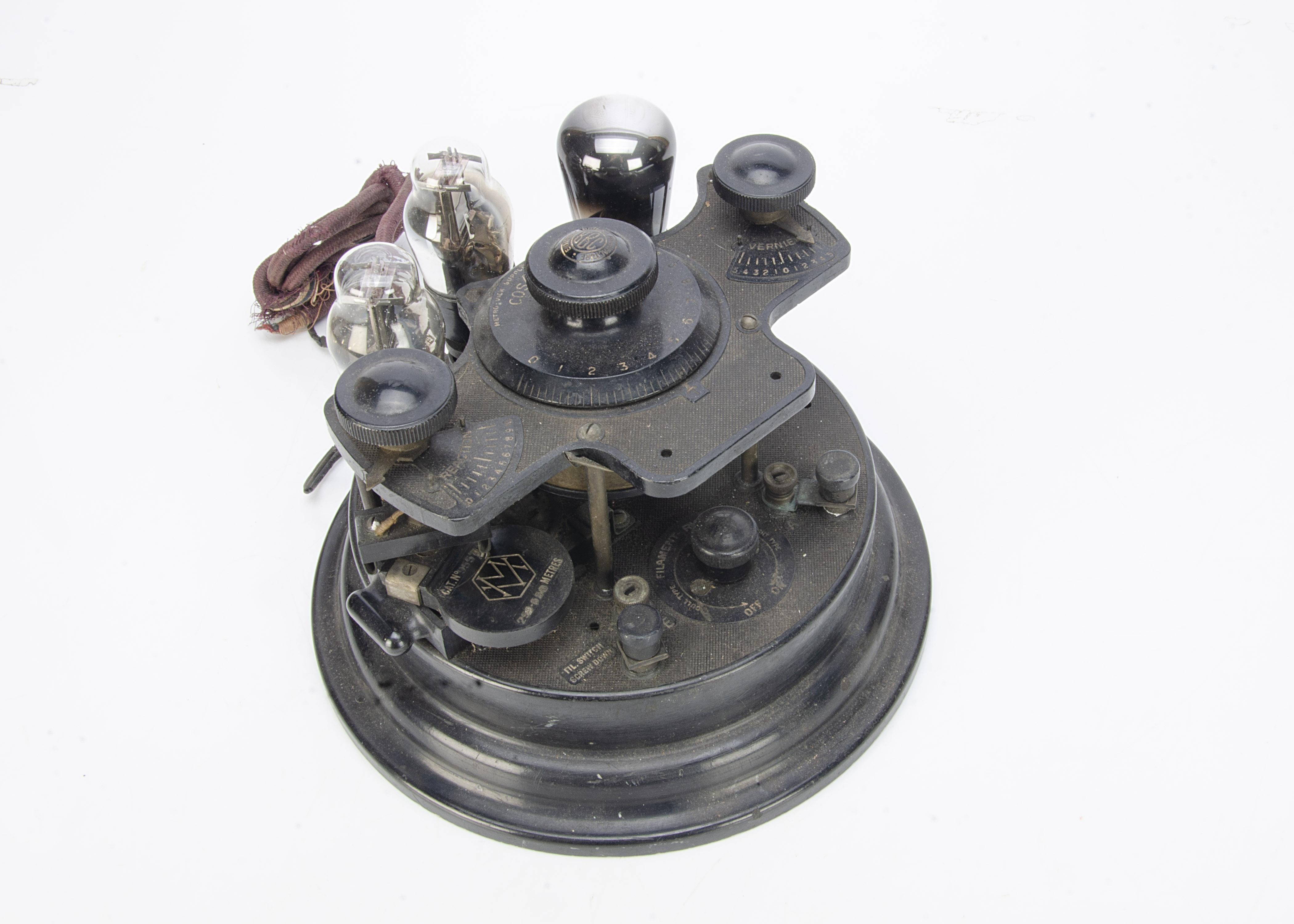 Cosmos Radiophone VR4, a Cosmos Radiophone VR4 'Cruet Set' 3 valve wireless receiver CAT No:89591