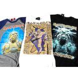 Iron Maiden 'T' Shirts, three Iron Maiden 'T' shirts - World Slavery tour 1984-85 copy printed in