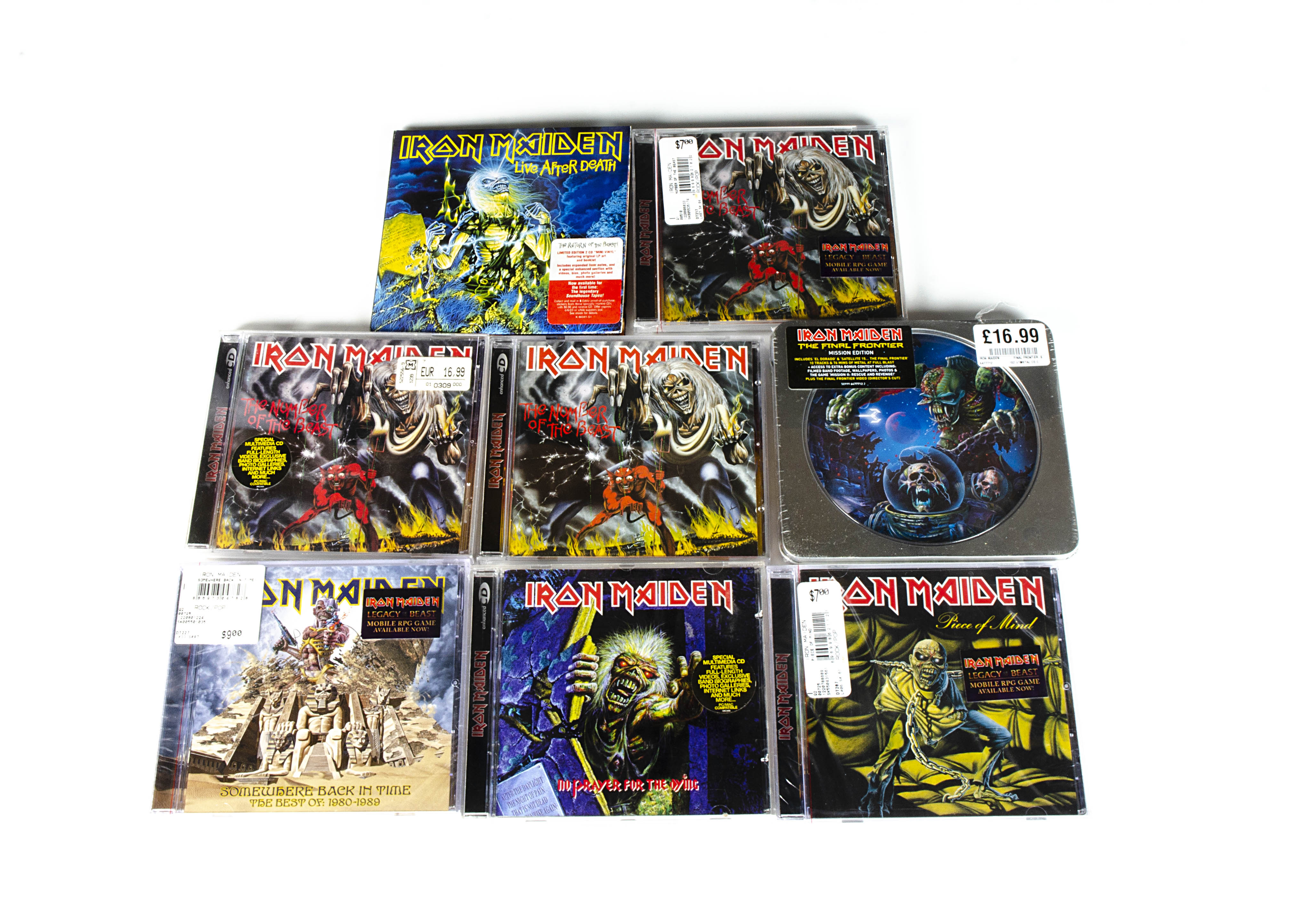 Iron Maiden CDs, eight Special Edition / Enhanced CDs comprising Number of the Beast (three