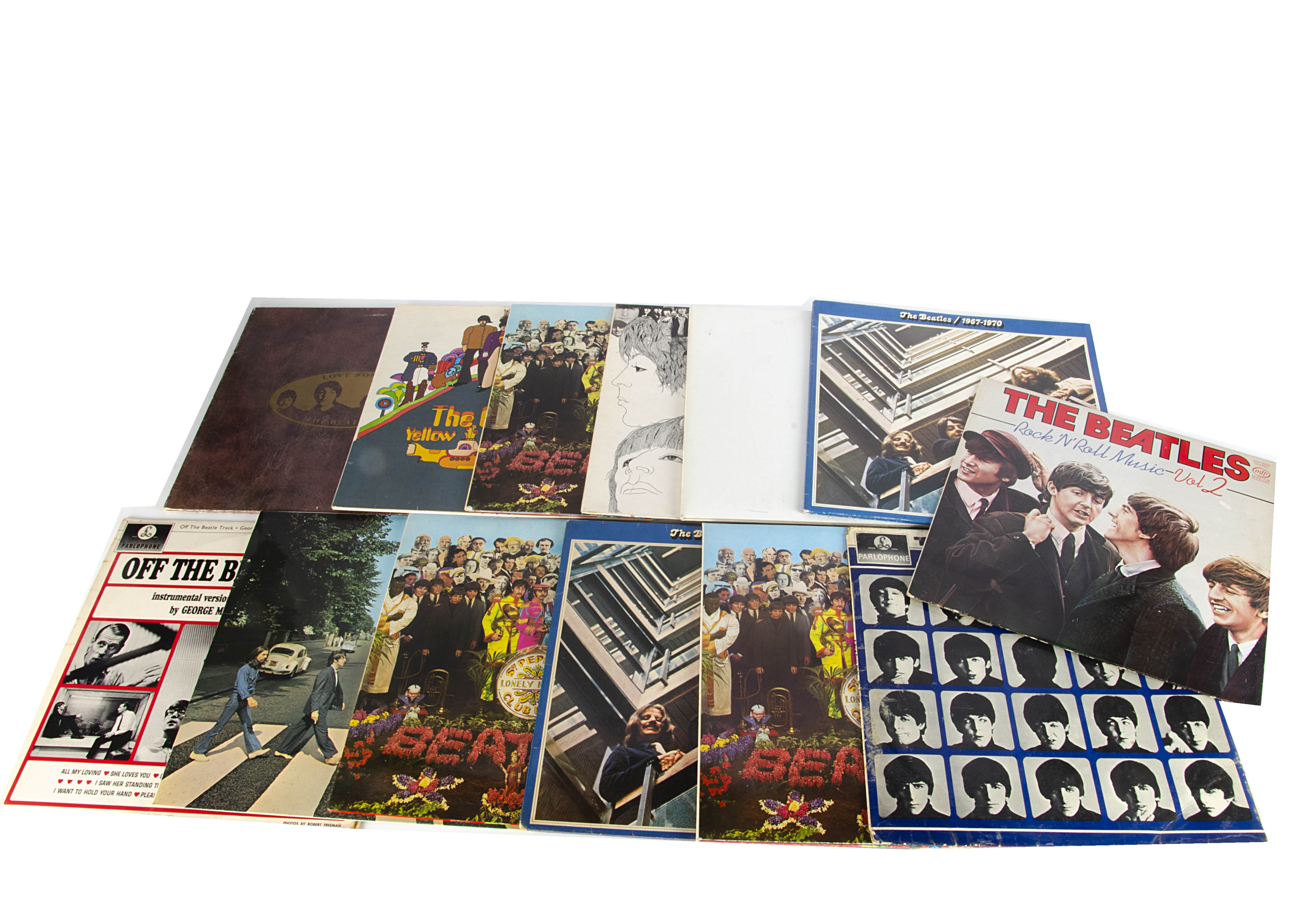 Beatles LPs, thirteen albums including originals, reissues and overseas releases comprising White