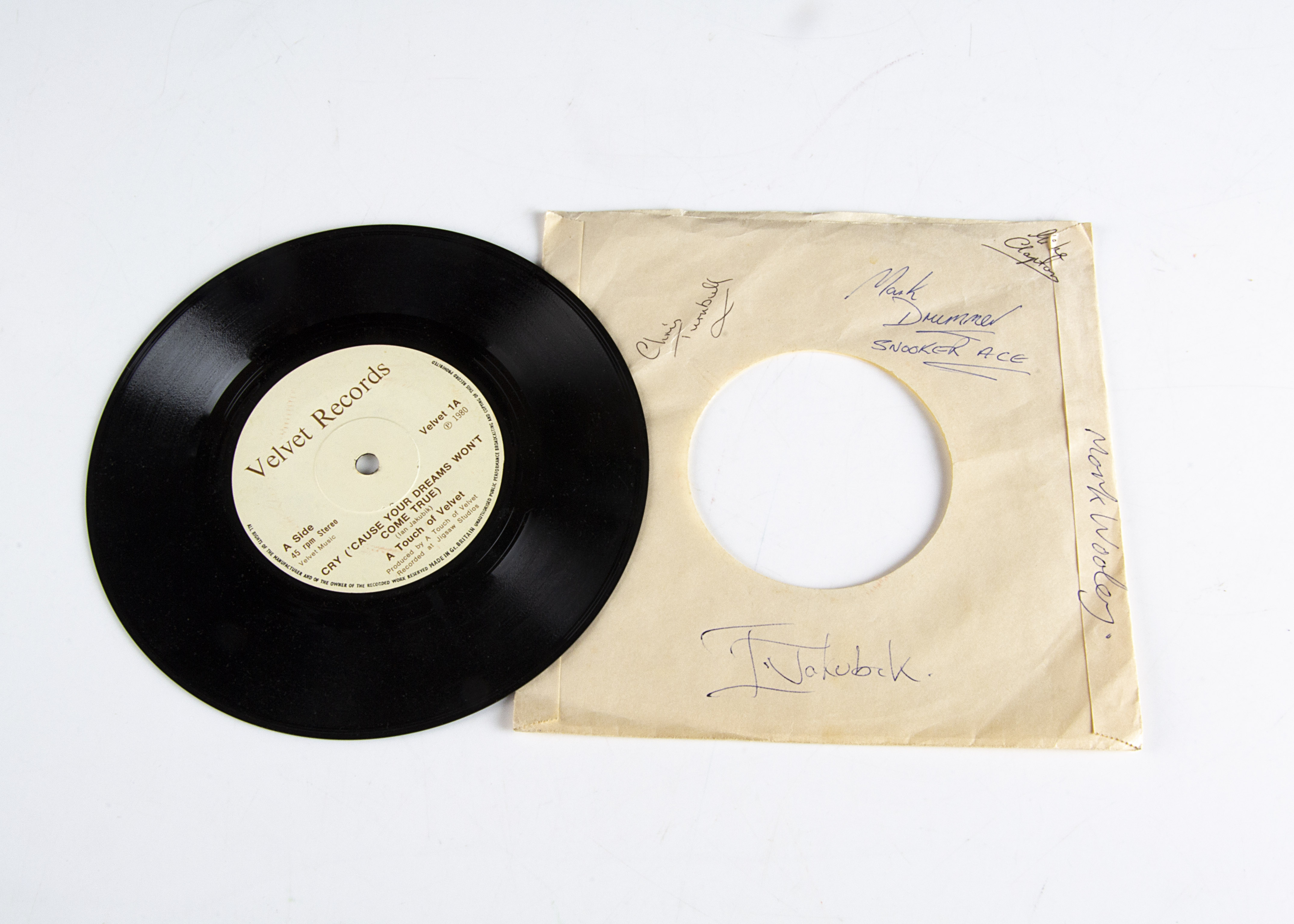 """A Touch of Velvet 7"""" Single / Signatures, Cry b/w Summertime Blues - Private Release 1980 on"""