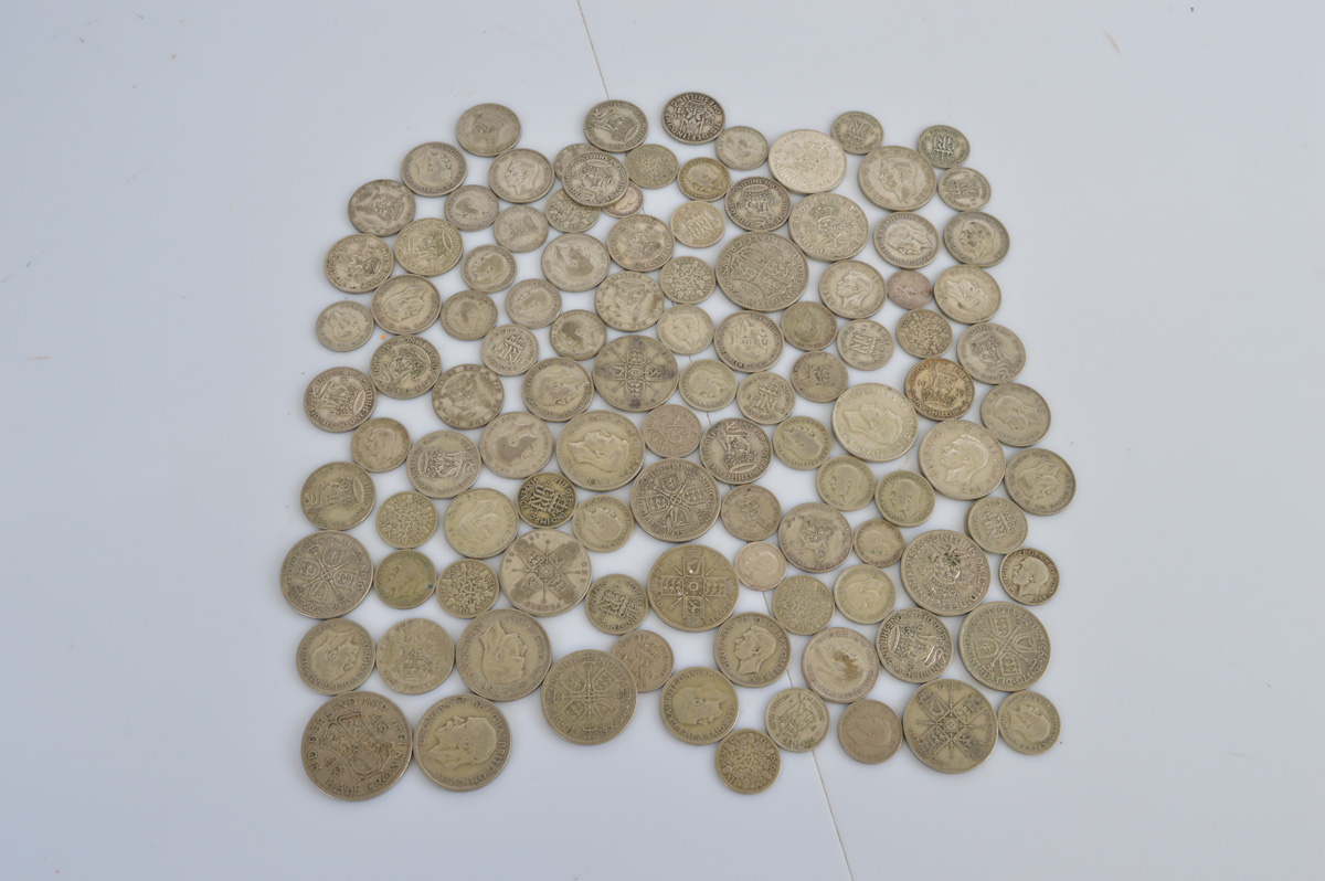 A quantity of British silver pre 1947 coinage, including half crowns, florins, six pence, shillings,